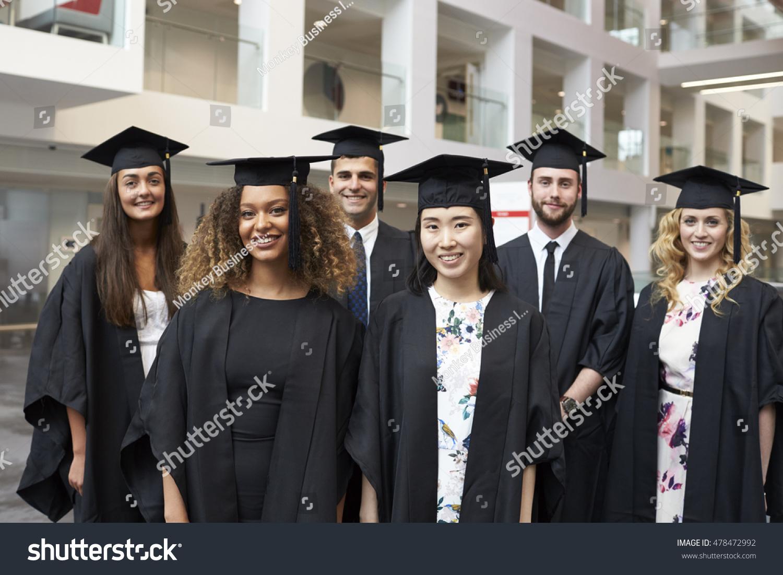 Group Portrait University Graduates Cap Gown Stock Photo (Edit Now ...
