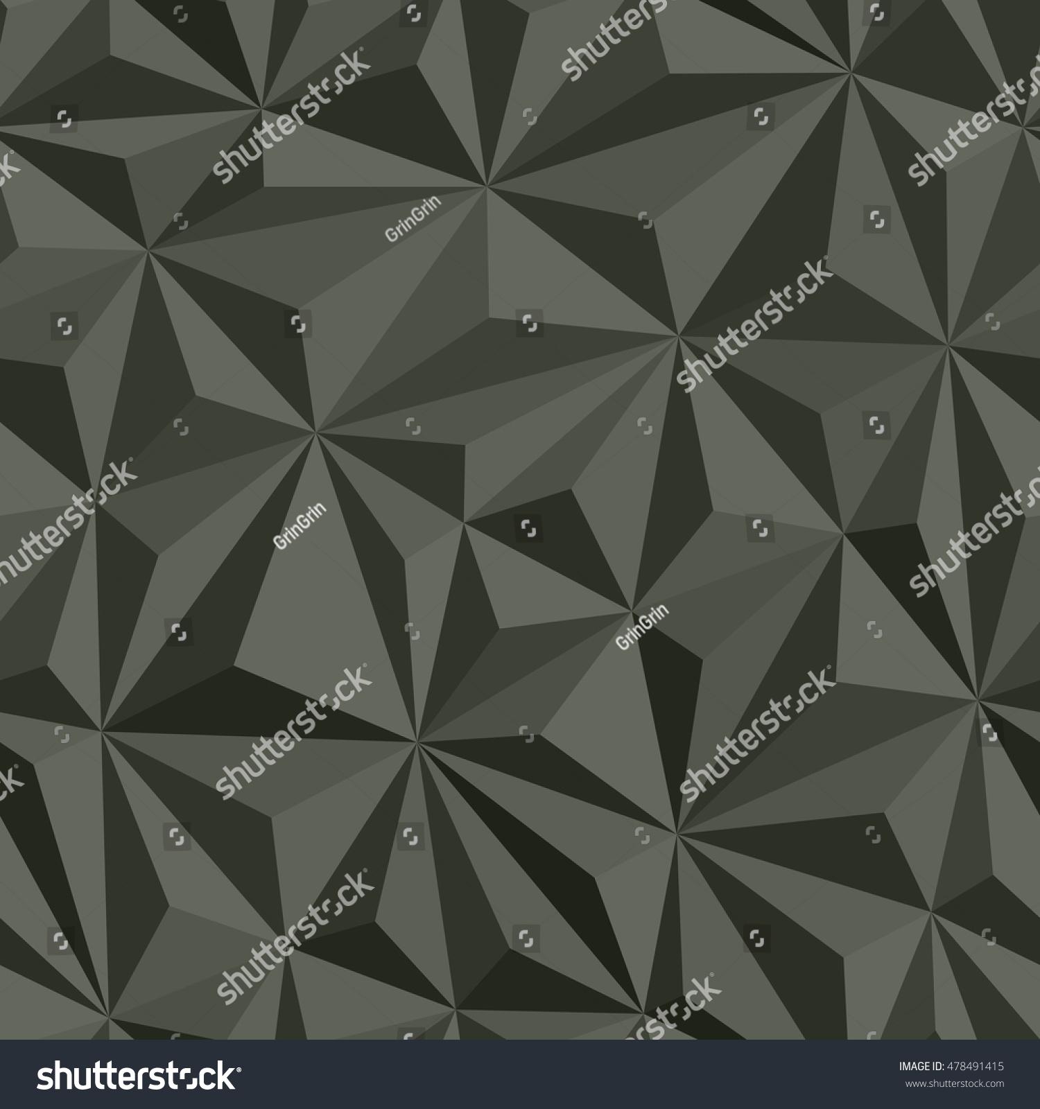 Vector Abstract Dark Grey Seamless Pattern Volumetric Triangle Texture Shards Modern Dynamic