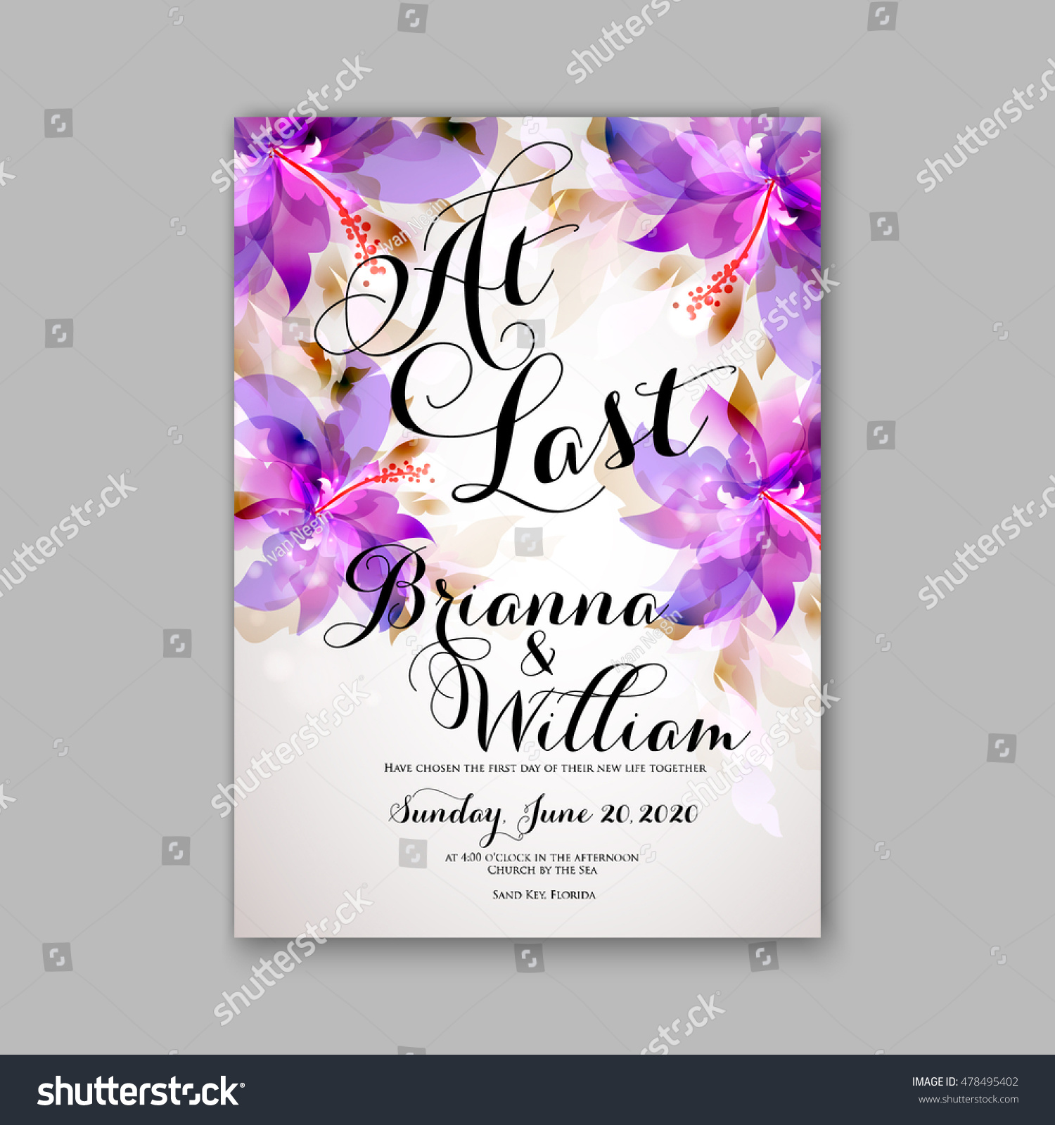 Wedding invitation or card with tropical floral background. Greeting ...