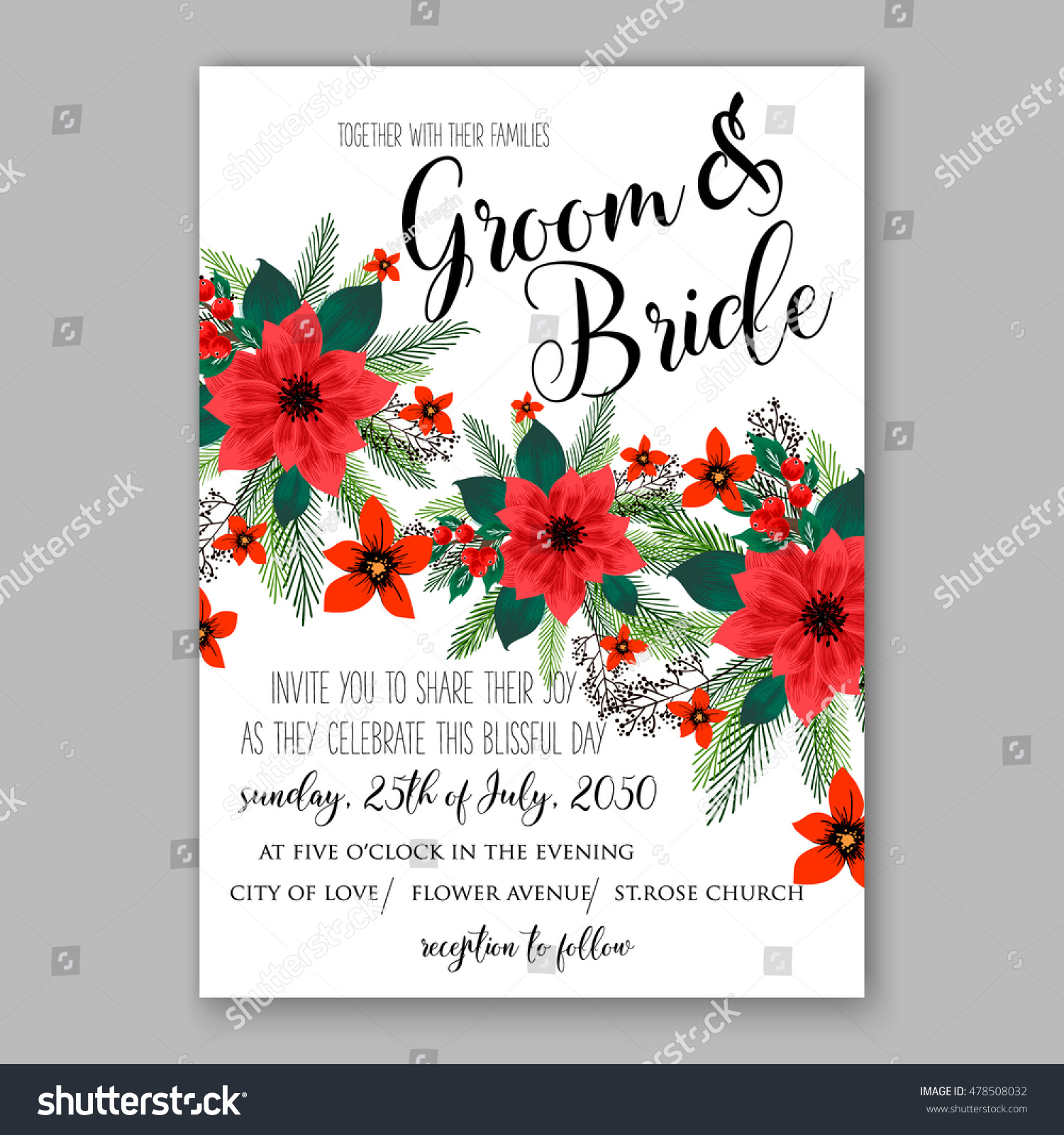 Christmas wedding invitation wording