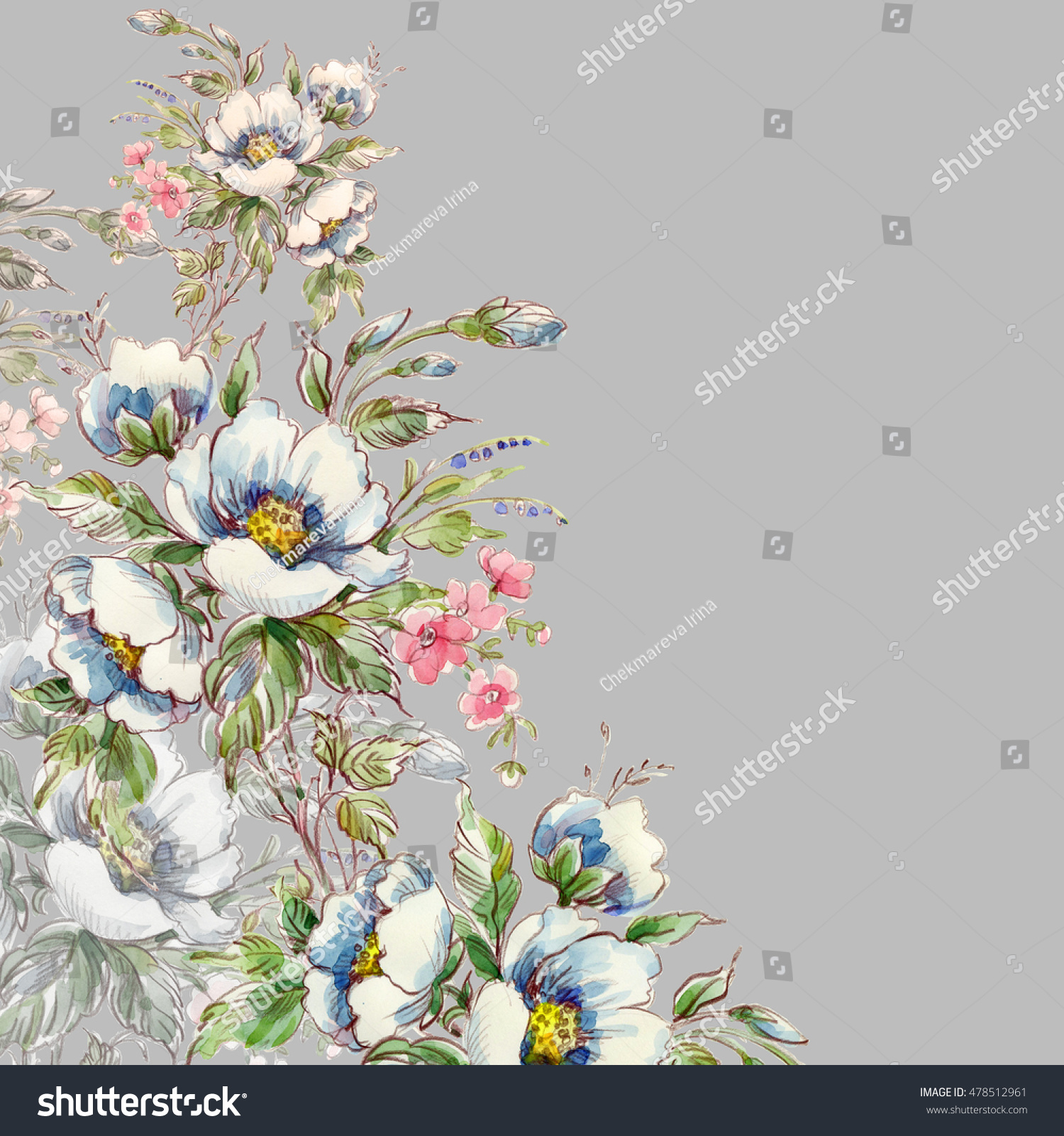 Floral watercolor background bouquet wild flowers 2 stock floral watercolor background bouquet of wild flowers 2 beautiful background of sketches pencil and izmirmasajfo