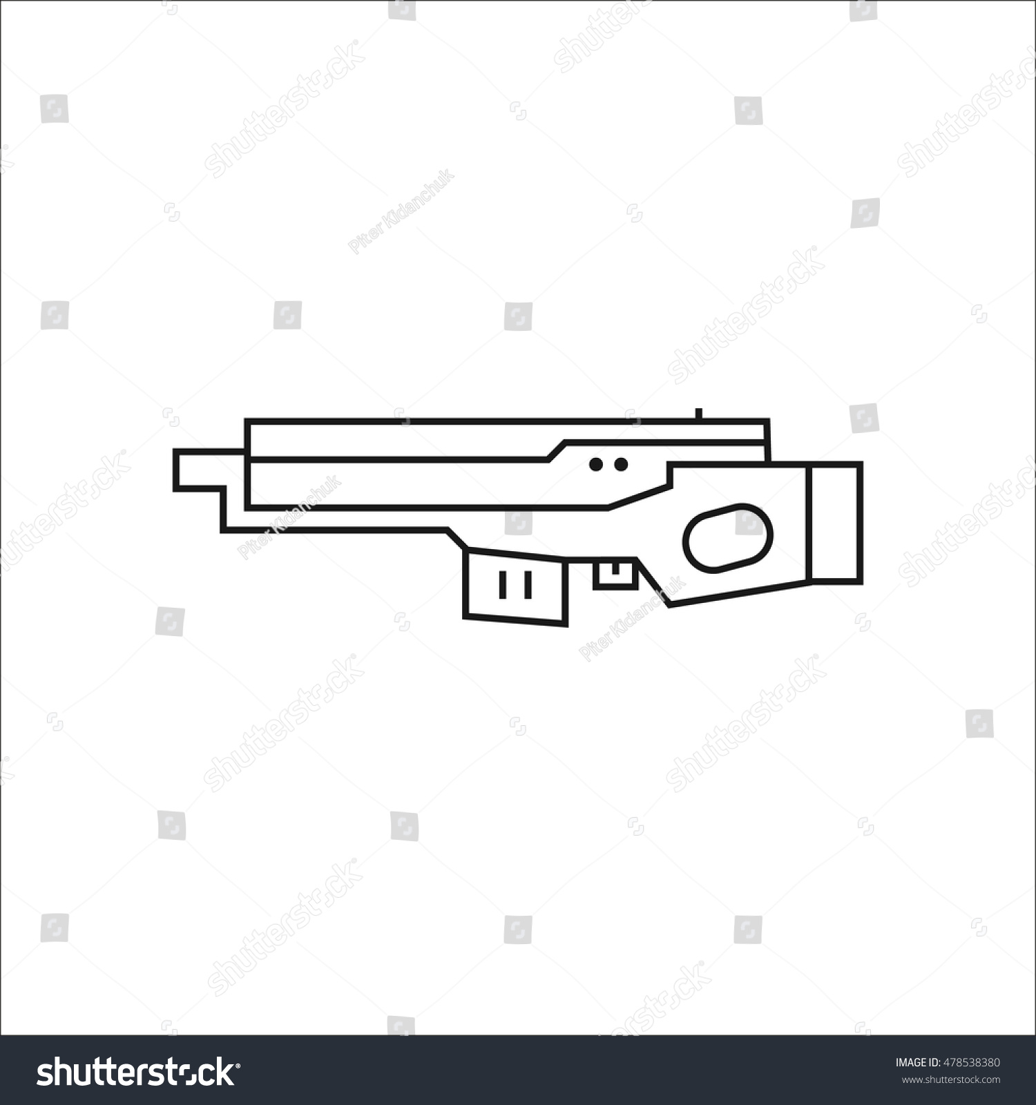 Futuristic large laser gun rifle symbol stock vector 478538380 futuristic large laser gun rifle symbol sign one line icon on background biocorpaavc Images