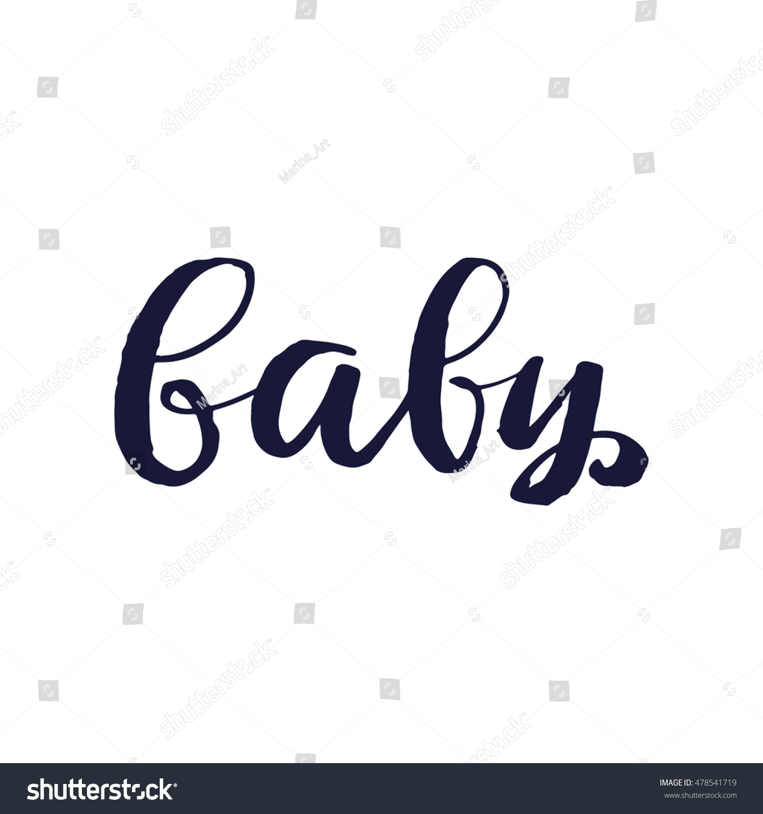 Vector calligraphy baby poster card grey stock