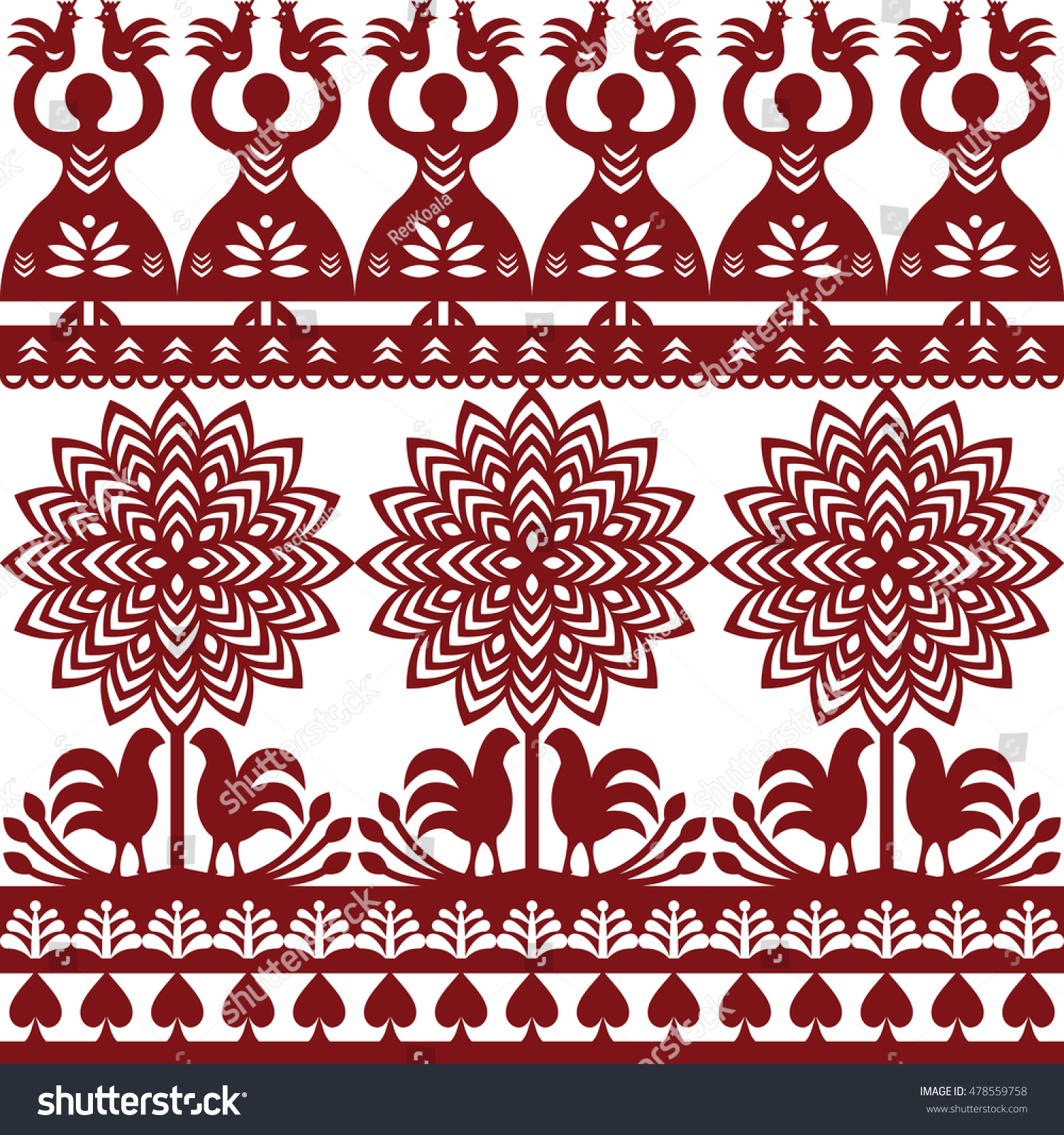 Seamless Polish Folk Art Pattern Wycinanki Stock Vector Royalty