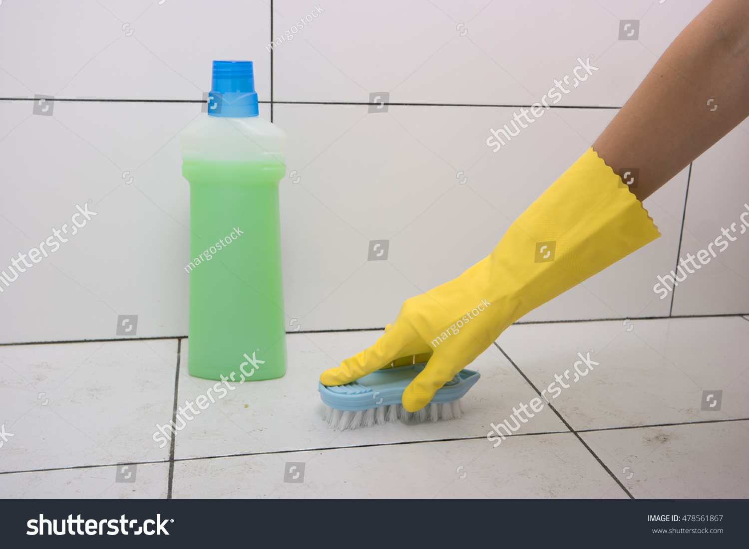 Housewife Rubber Gloves Clean Floor Brush Stock Photo (Royalty Free ...