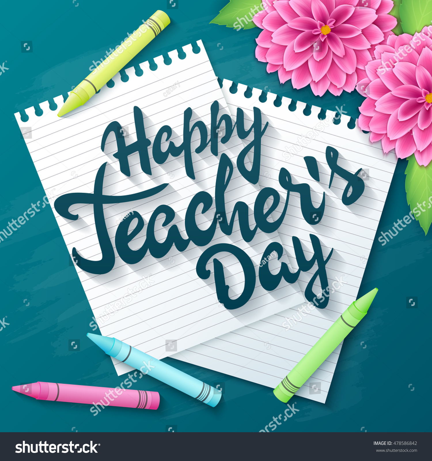 Vector hand drawn teachers day lettering stock vector royalty free vector hand drawn teachers day lettering greetings label happy teachers day with realistic paper m4hsunfo