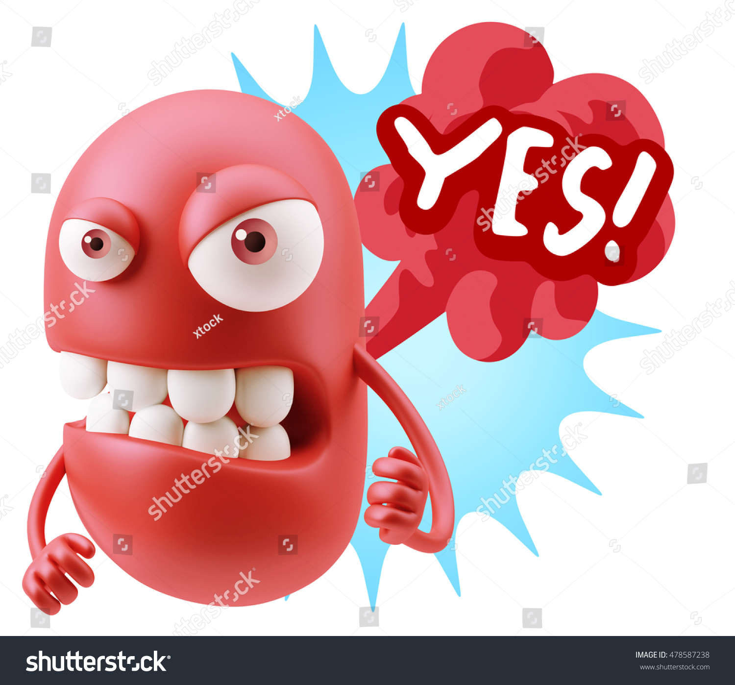 Stock illustration 3d red text quot yes quot stock illustration royalty -  Vectors Illustrations Footage Music 3d Rendering Angry Character Emoji Saying Yes With Colorful Speech Bubble