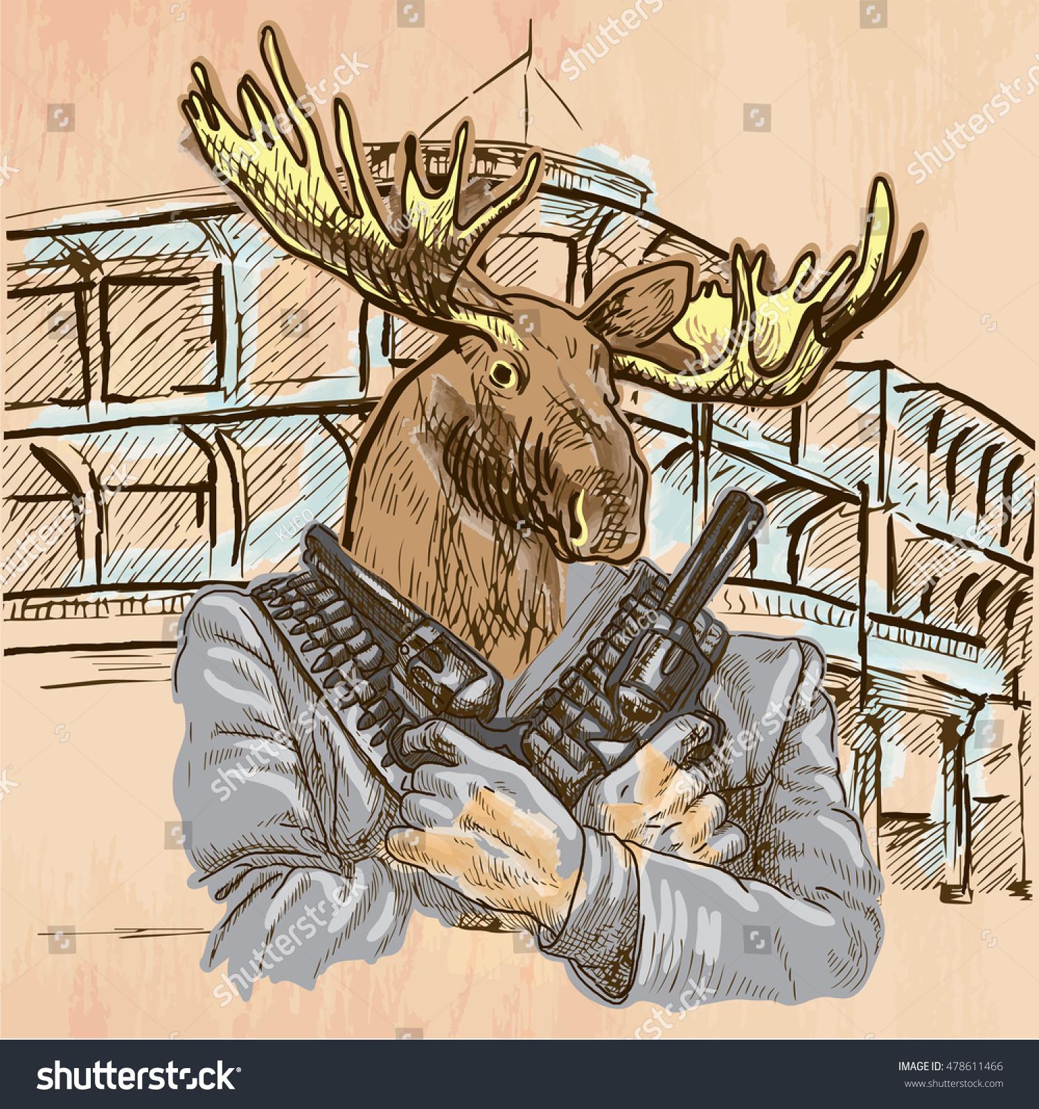 Gunman Animal Shooter Elk Freehand Sketching Royalty Free