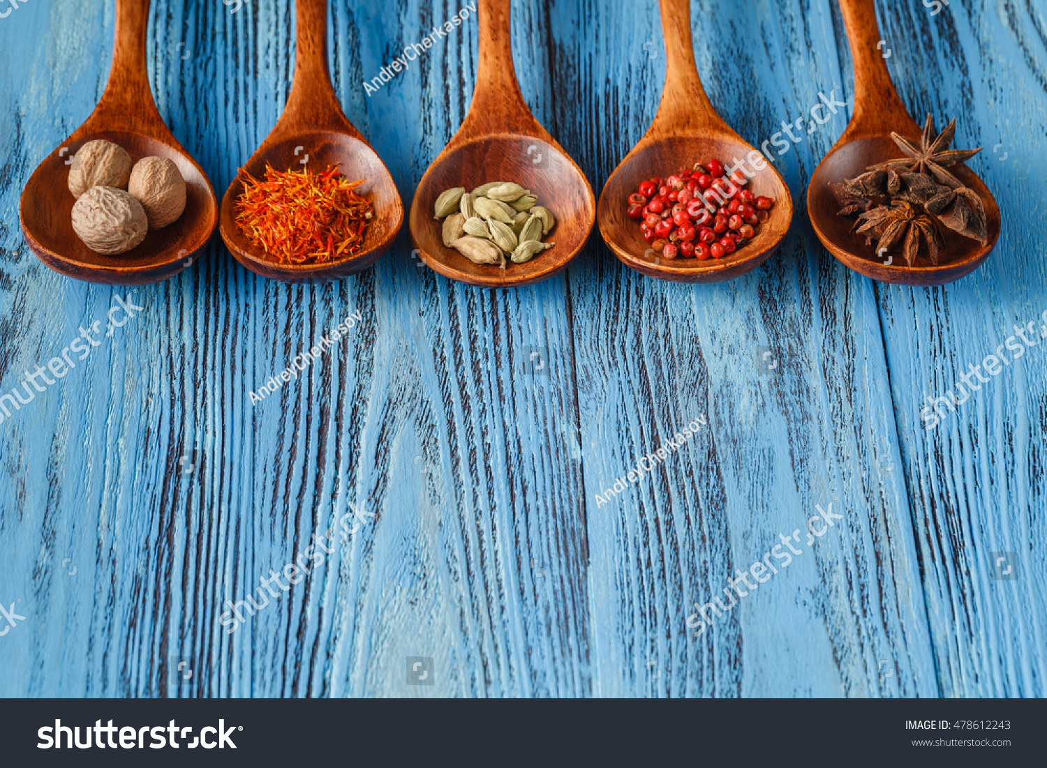 Collection Spices On Wooden Spoons Blue Stock Photo (Edit Now ...