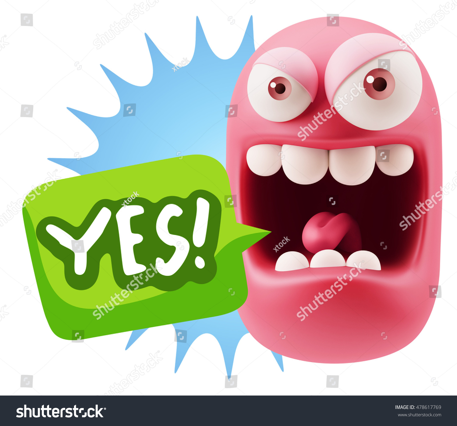 Stock illustration 3d red text quot yes quot stock illustration royalty - 3d Illustration Angry Face Emoticon Saying Yes With Colorful Speech Bubble