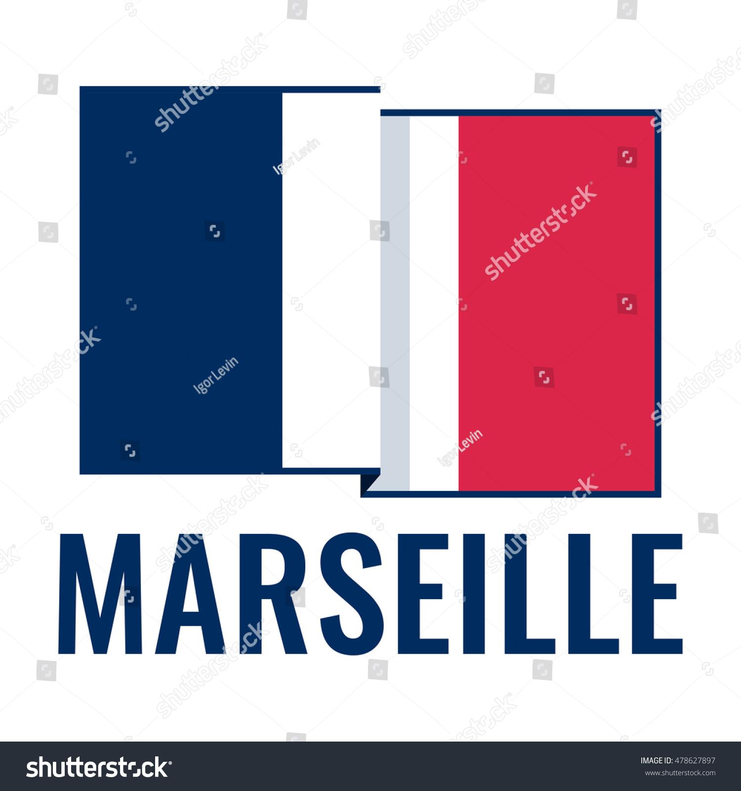Marseille City France Flag Flat Vector Stock Vector Royalty Free