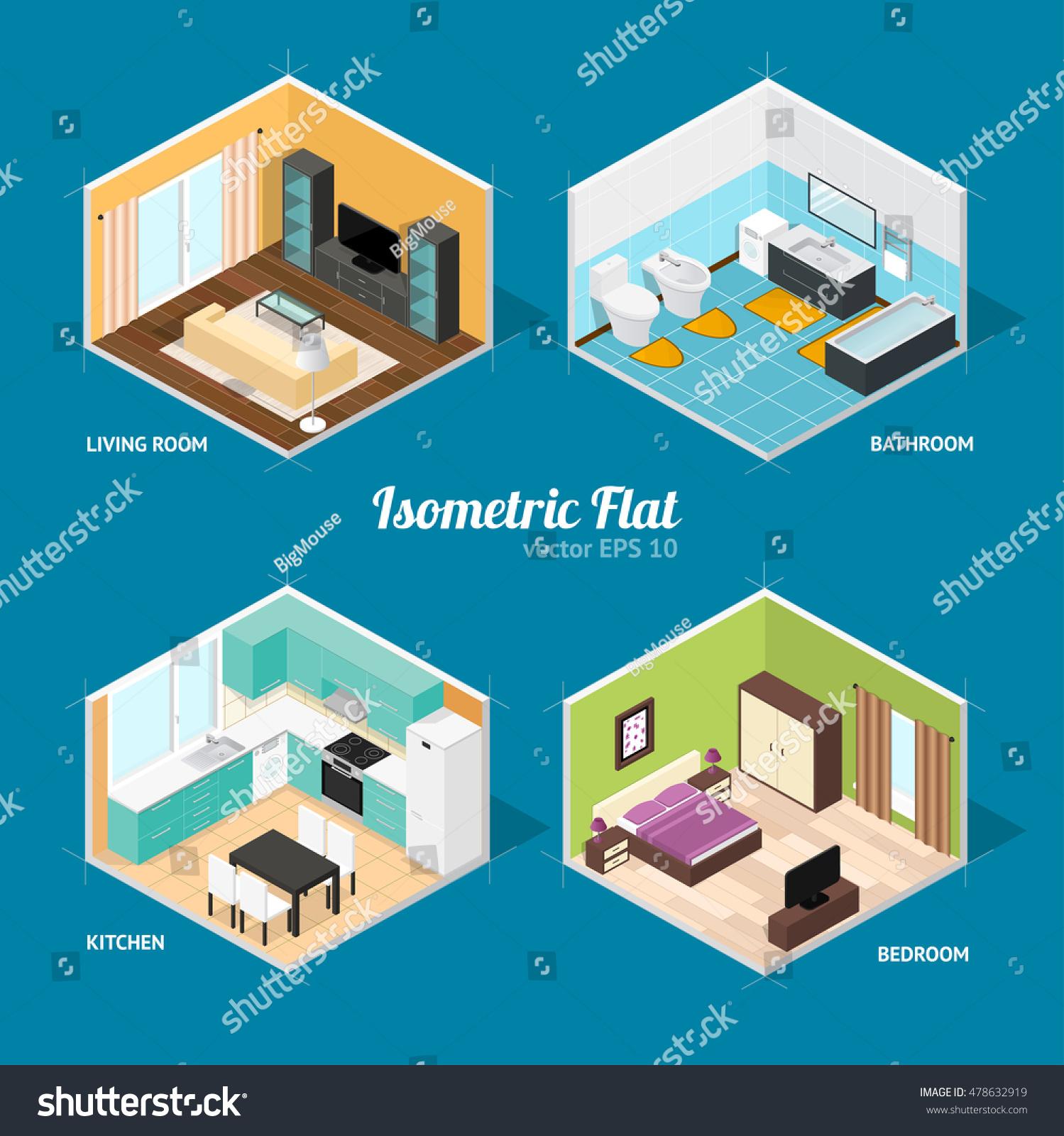 Interior rooms house livingroom bathroom bedroom stock vector interior rooms of the house livingroom bathroom bedroom and kitchen isometric view ccuart Choice Image