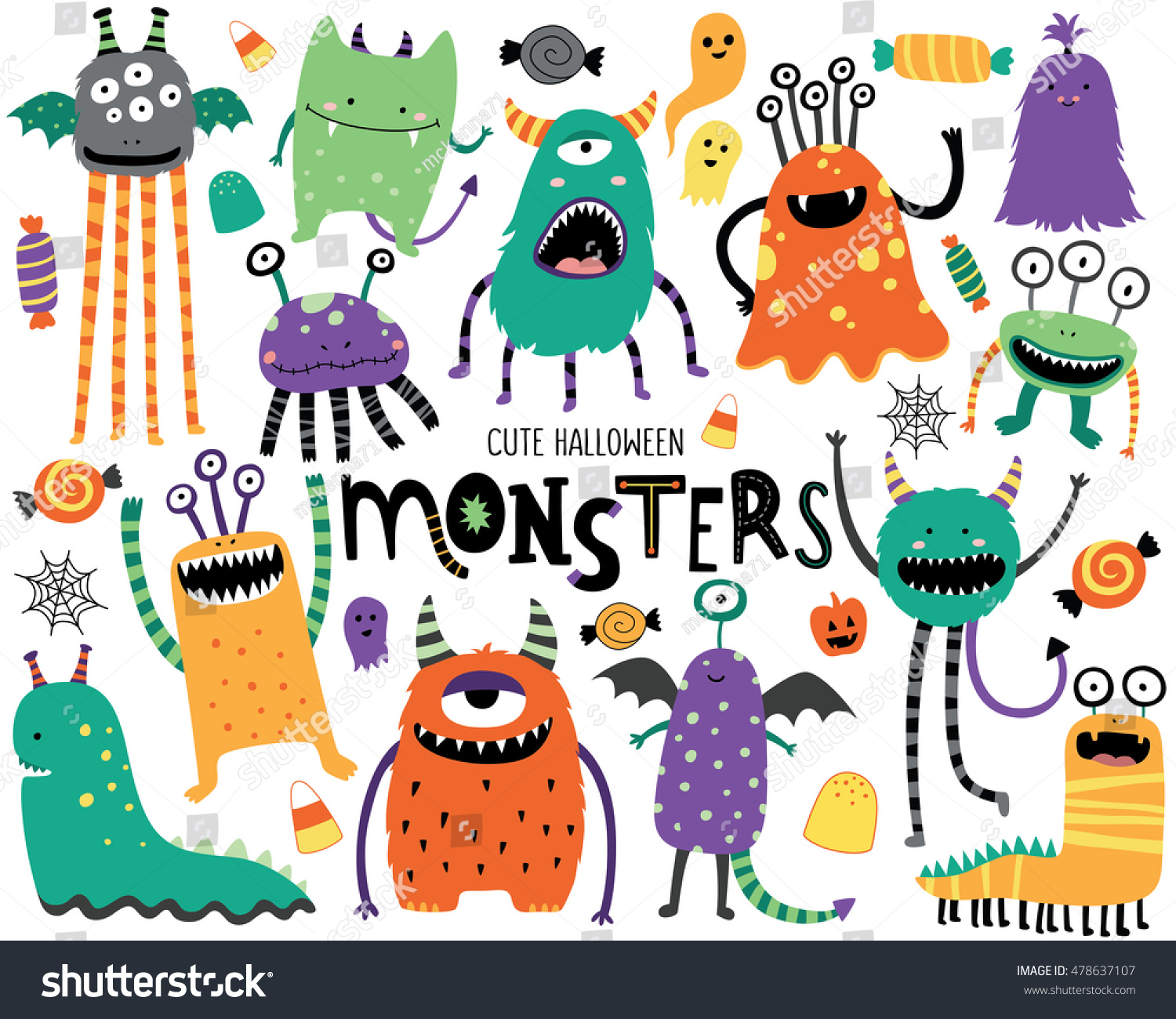 Cute Scary Halloween Monsters Candy Stock Vector 478637107 ...