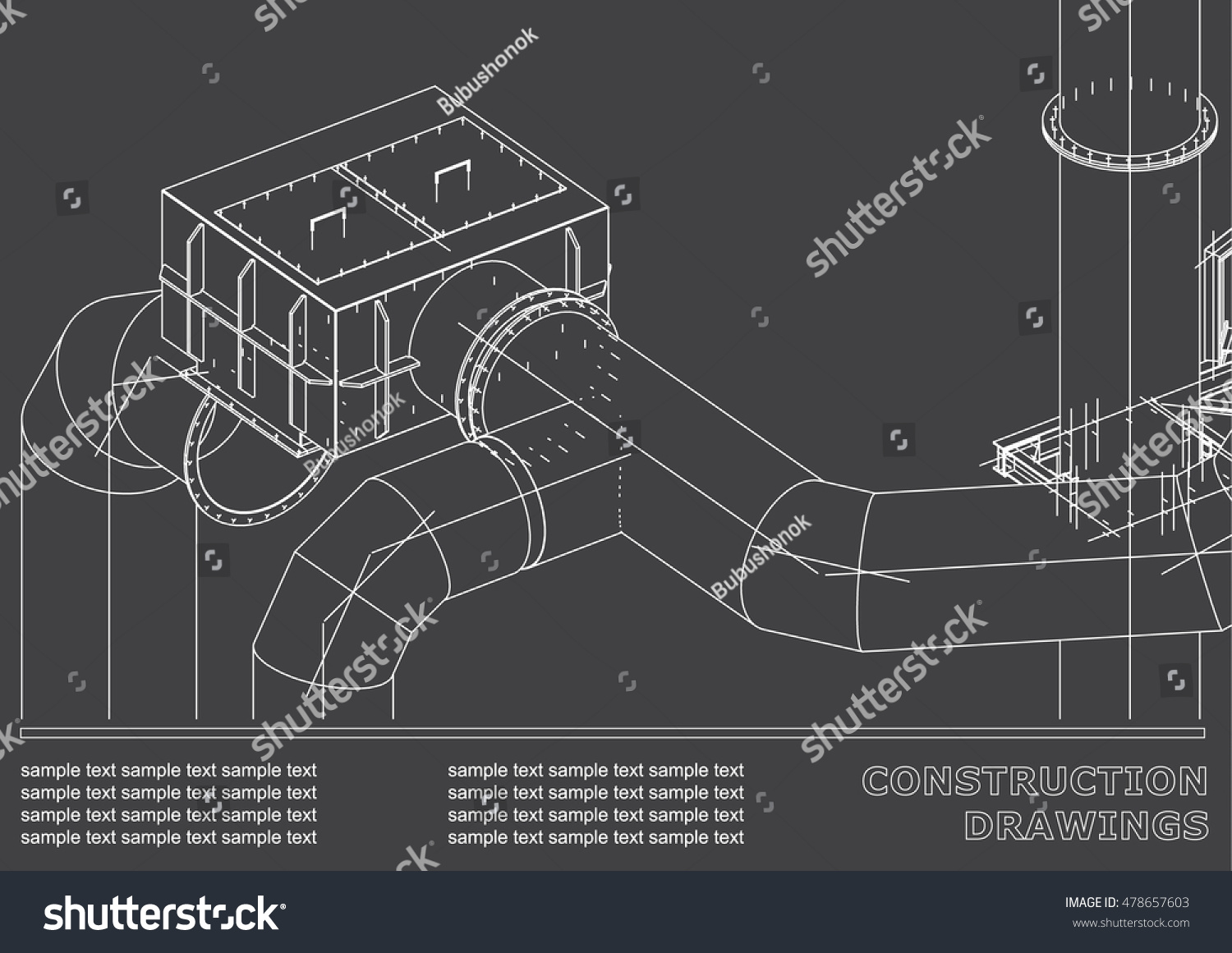 Drawings steel structures pipes 3d blueprint vectores en stock drawings of steel structures pipes 3d blueprint of steel structures cover background malvernweather Choice Image