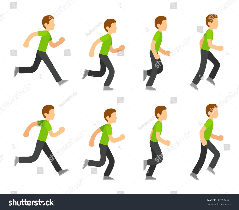 Running man animation 8 frame sequence flat cartoon style vector