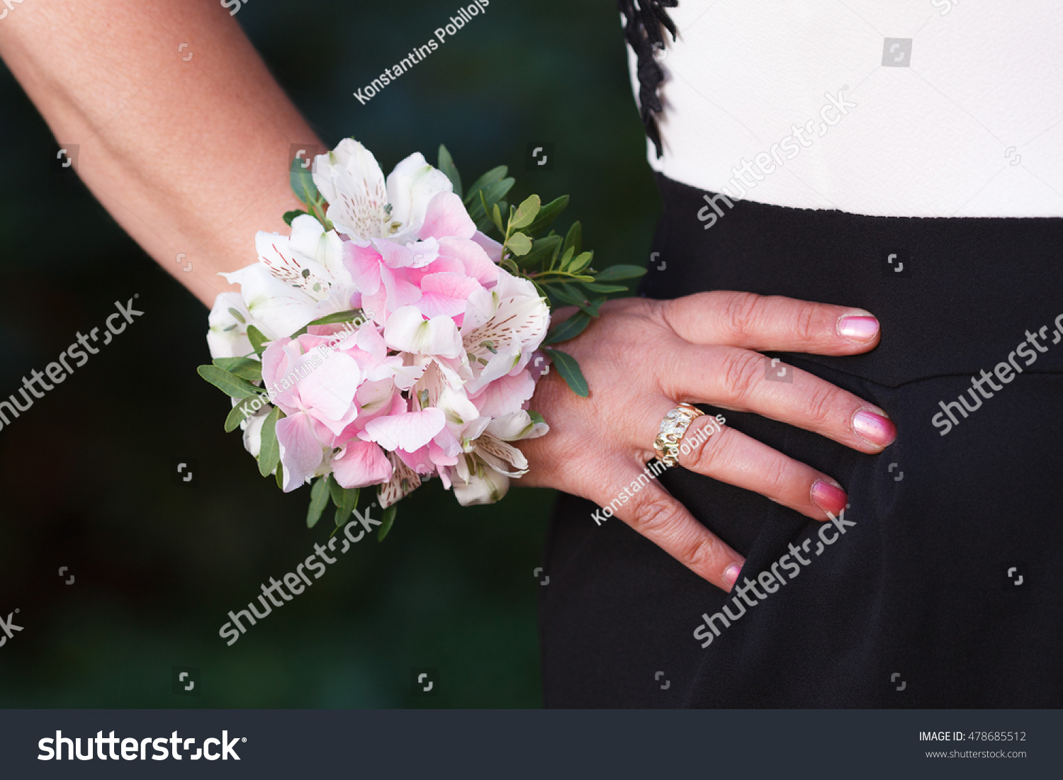 Wrist Corsage Hydrangea Alstroemeria Flowers On Stock Photo (Edit ...
