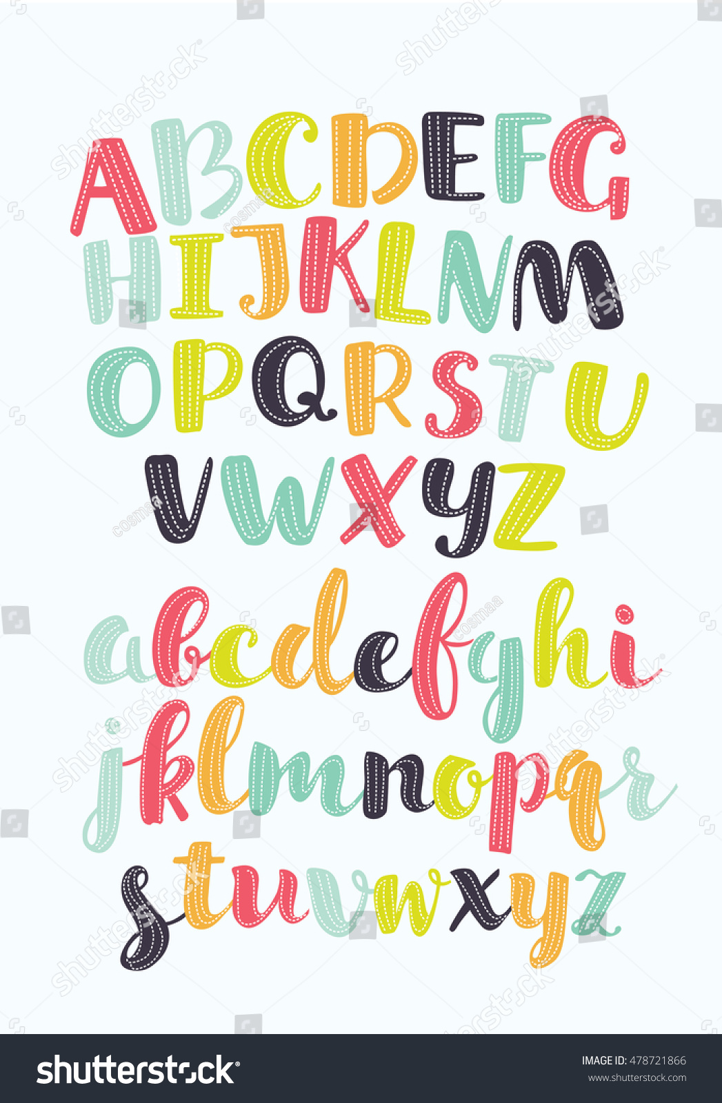 vector set cartoon colorful alphabet hand stock vector 478721866