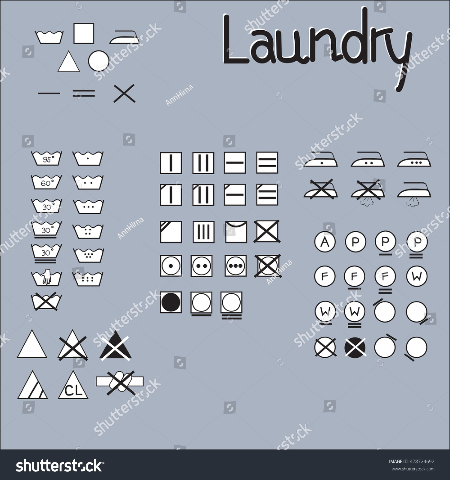 Laundry Symbols Line Design Washing Ironing Stock Photo Photo