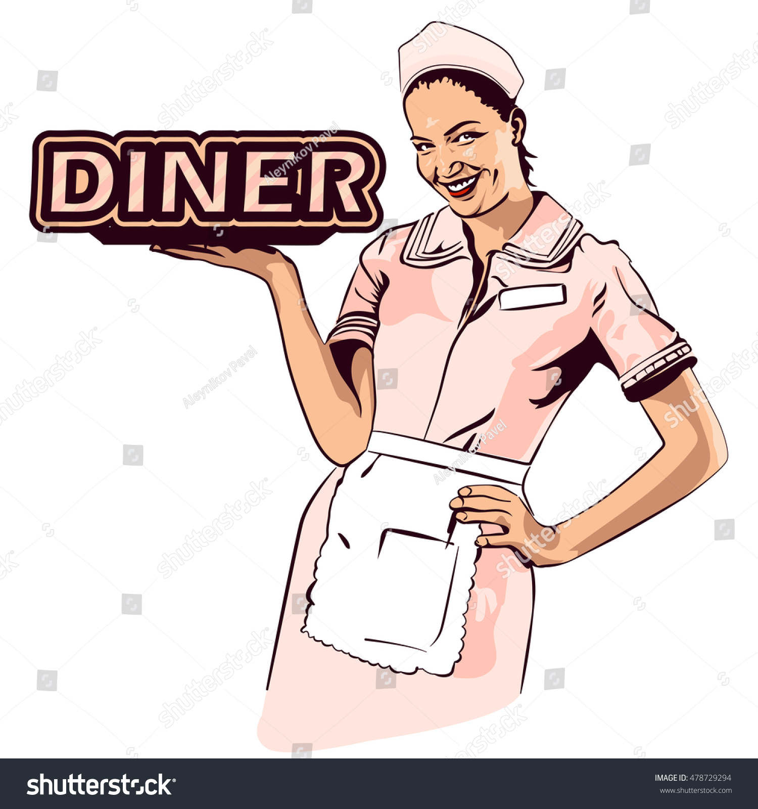 Vector image retro diner waitress retro stock vector for Cuisine retro 50 s