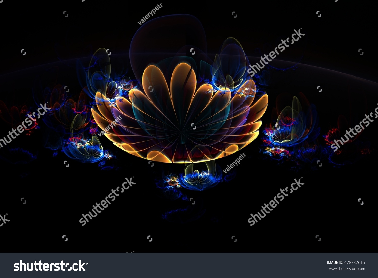 abstract 3 d flowers on black background stock illustration