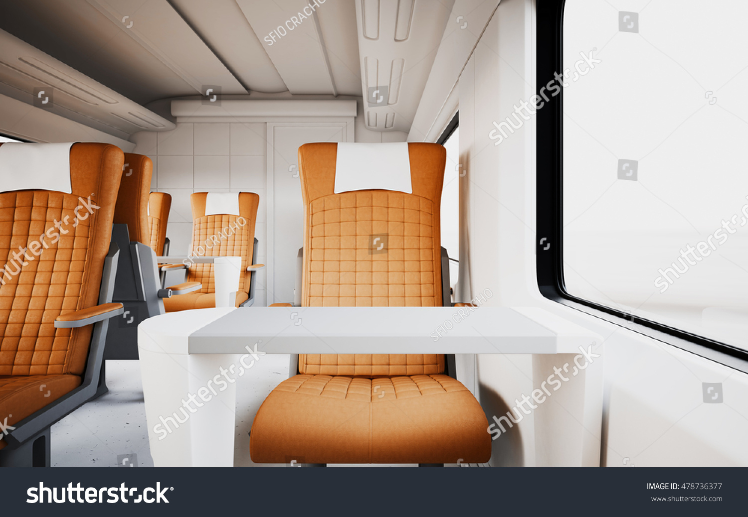 Modern Comfortable Leather Armchair Inside First Class Cabin Fast Speed  Train Empty White Window Generic Stock Firstclass Home Design Plan