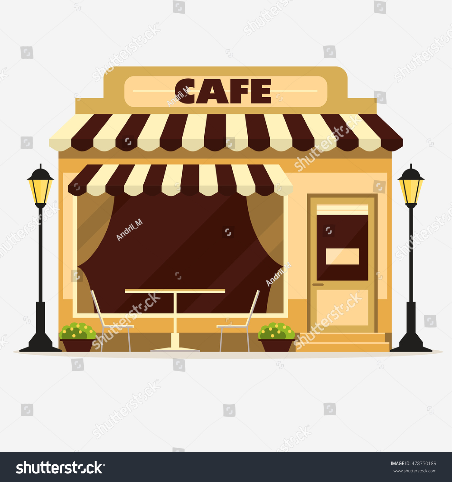 Vector De Stock Libre De Regalias Sobre Cafe Street Shop Building Facade Small478750189