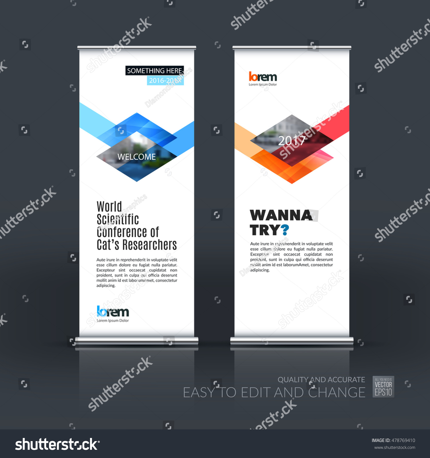 Modern Exhibition Stand Vector : Vector set modern roll banner stand stock