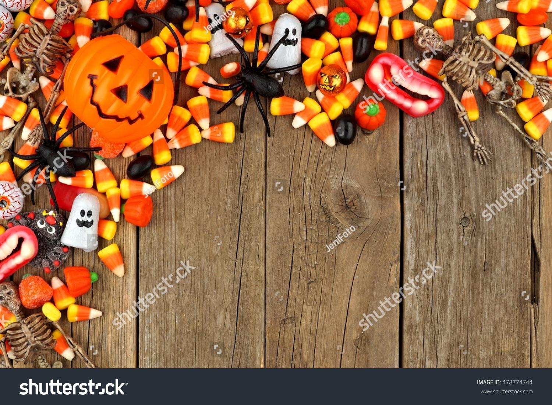 halloween candy decor top corner border stock photo (edit now