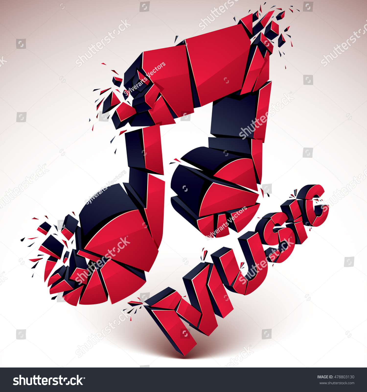 3 D Vector Red Shattered Musical Notes Stock Vector 478803130