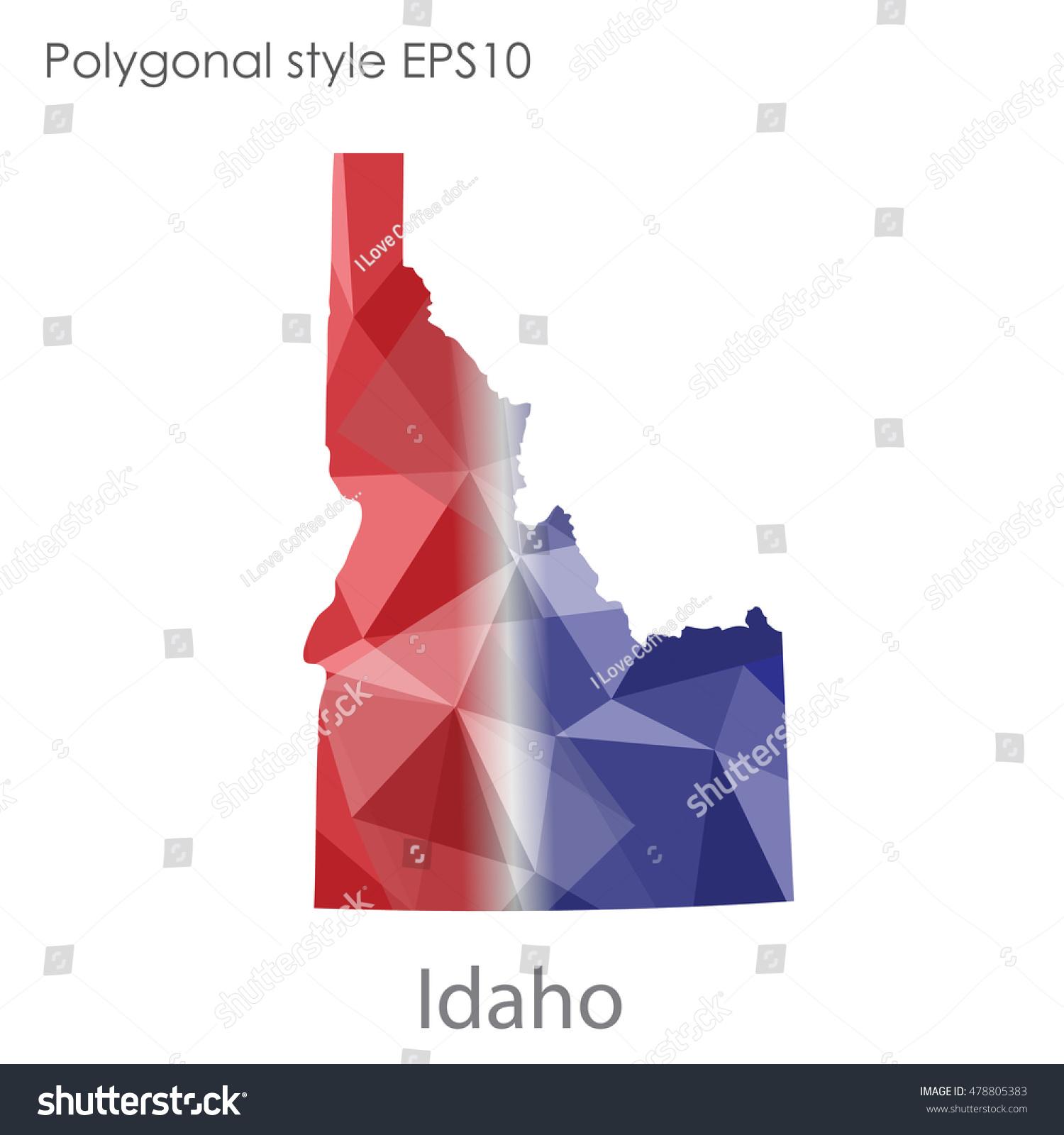 Idaho State Map Geometric Polygonal Style Abstract Stock ...