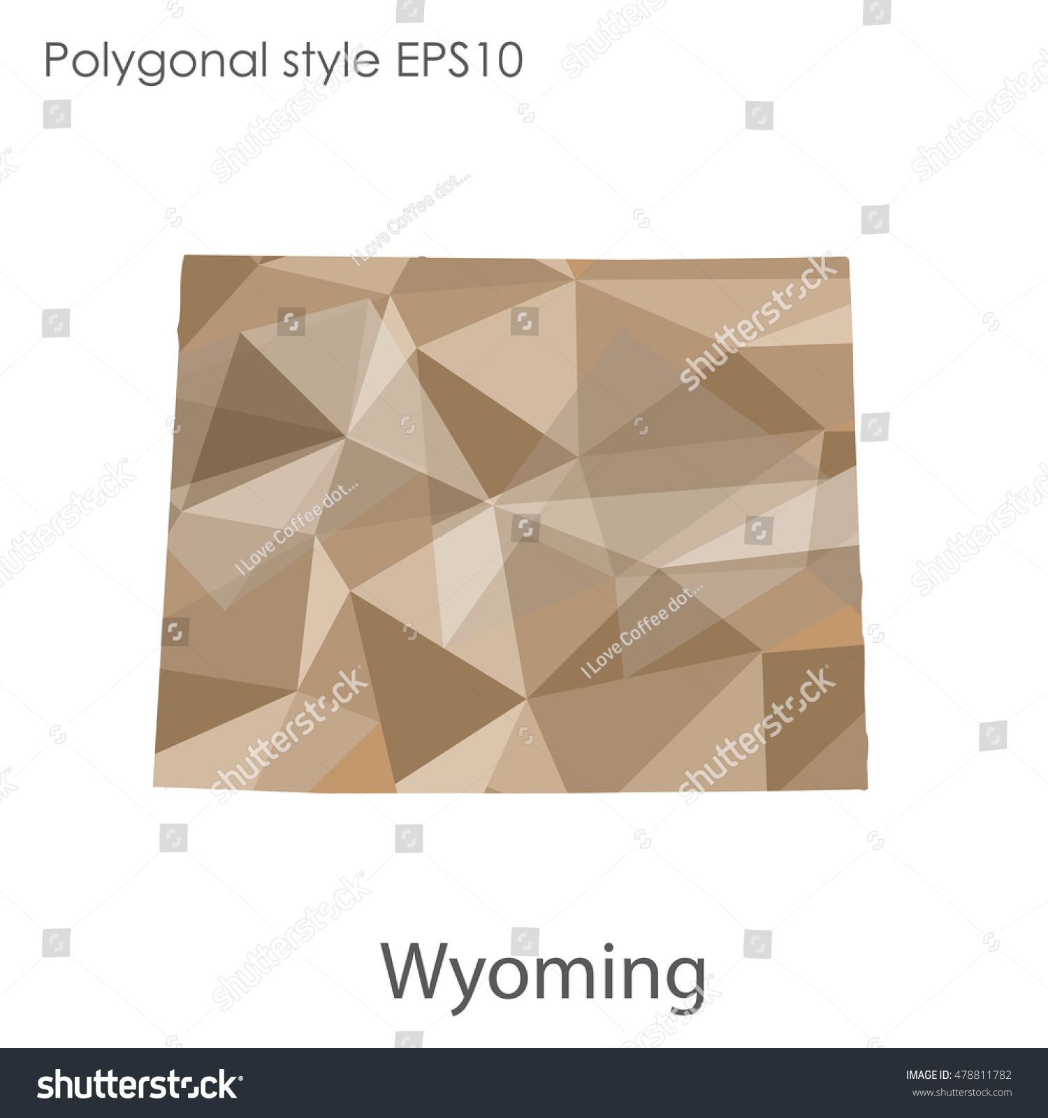 Wyoming State Map Geometric Polygonal Style Abstract Stock Vector ...