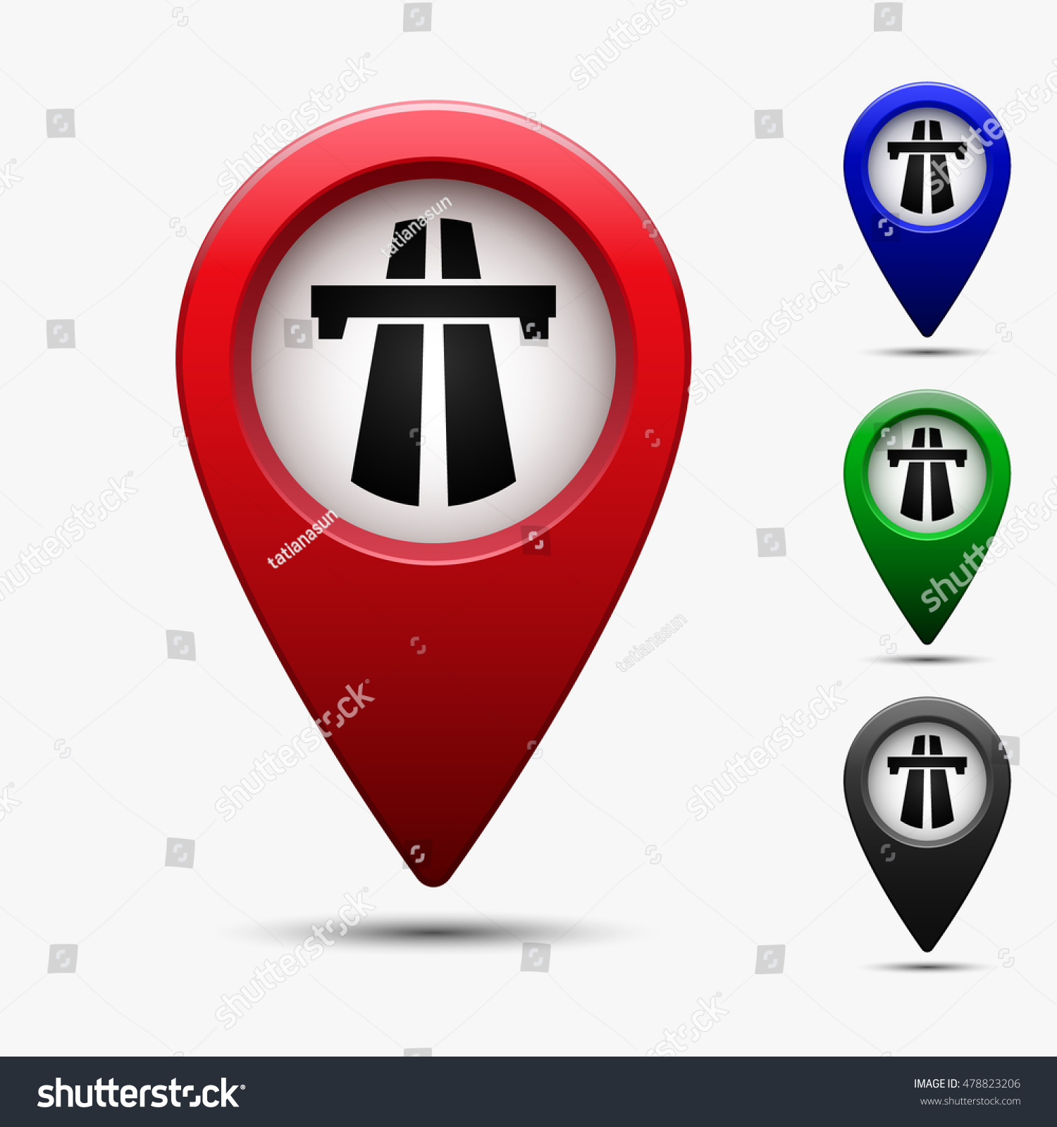 Colored map pointer symbol highway motorway stock vector 478823206 colored map pointer with symbol highway motorway autobahn and speedway for location maps biocorpaavc