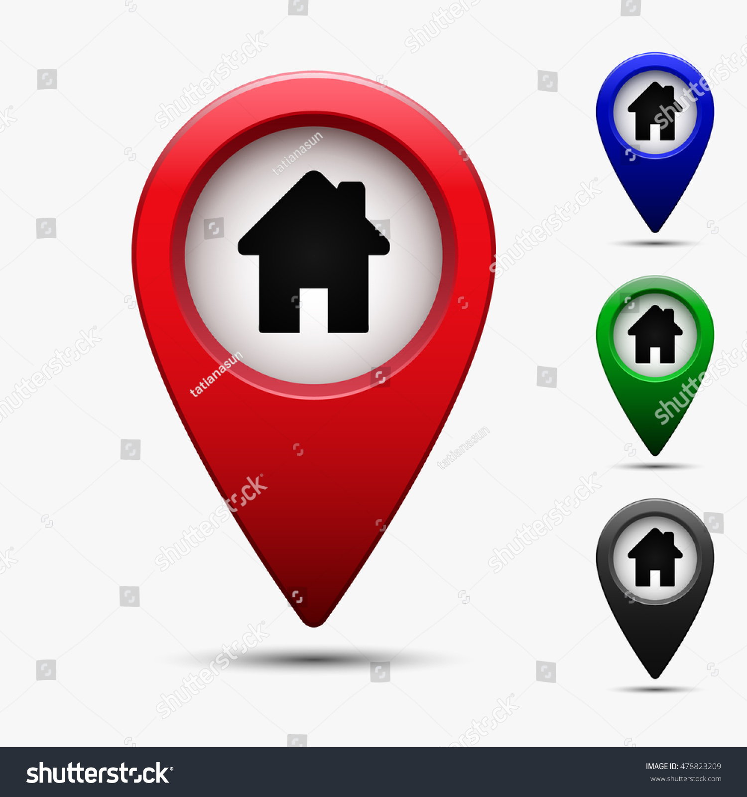 Colored map pointer symbol house home stock vector for House music symbol