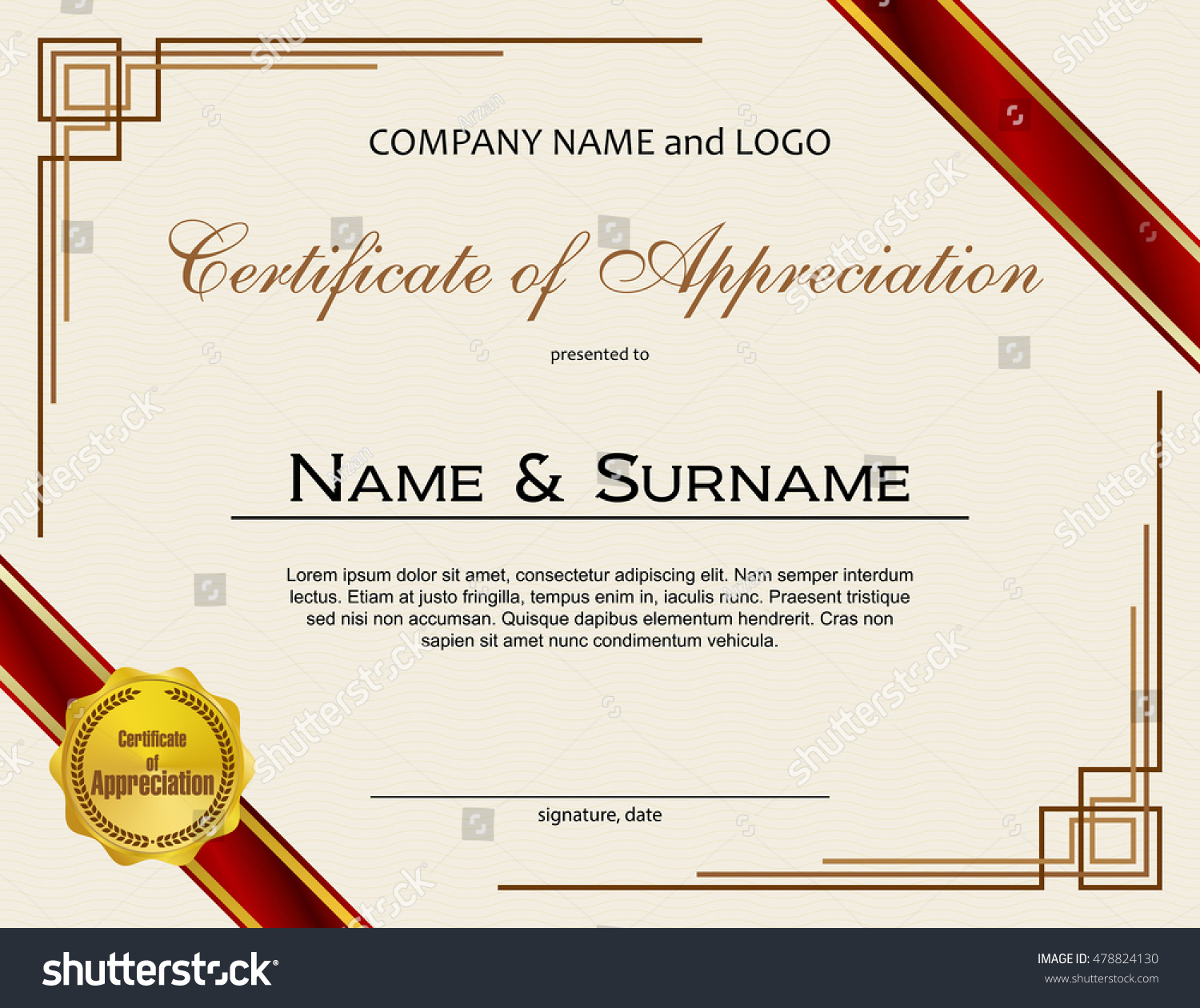 Certificate appreciation medal ribbon stock vector 478824130 certificate of appreciation with medal and ribbon yadclub Images