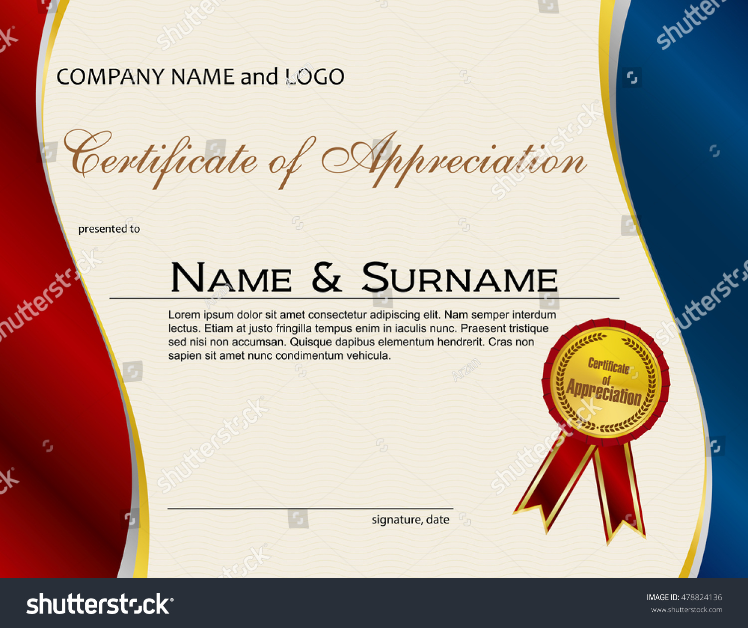 Certificate appreciation medal ribbon stock vector 478824136 certificate of appreciation with medal and ribbon yadclub Images