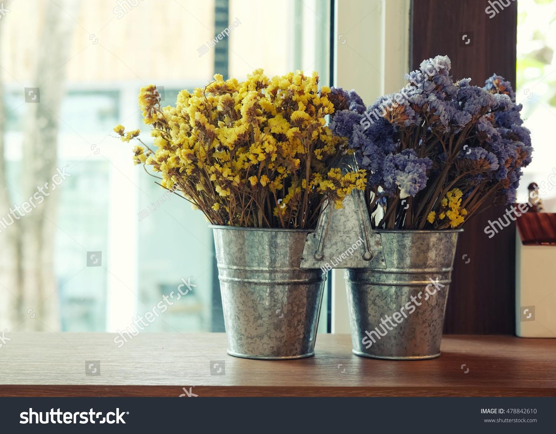 Beautiful Decorative Flowerdried Flowers Vase On Nature Stock Image 478842610