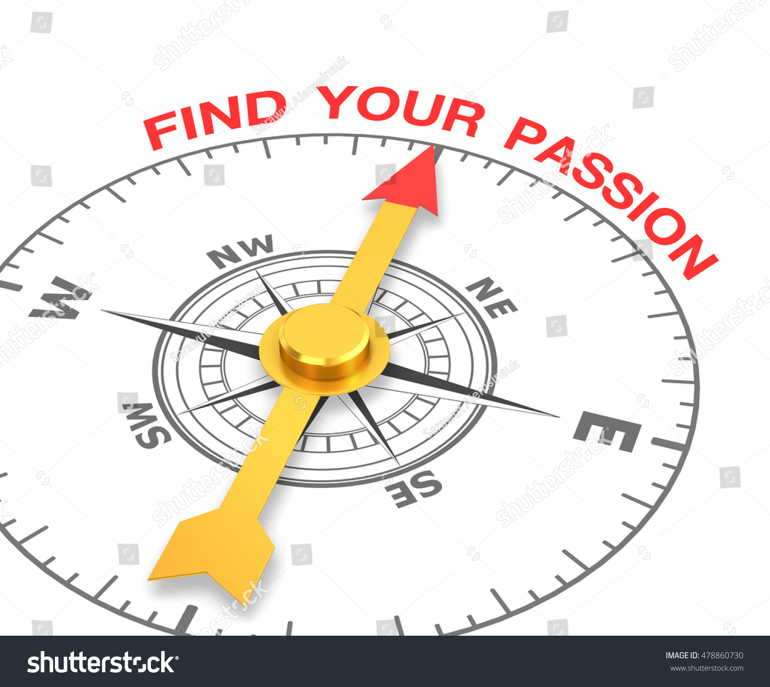 compass needle pointing word your stock illustration compass the needle pointing the word your passion 3d rendering