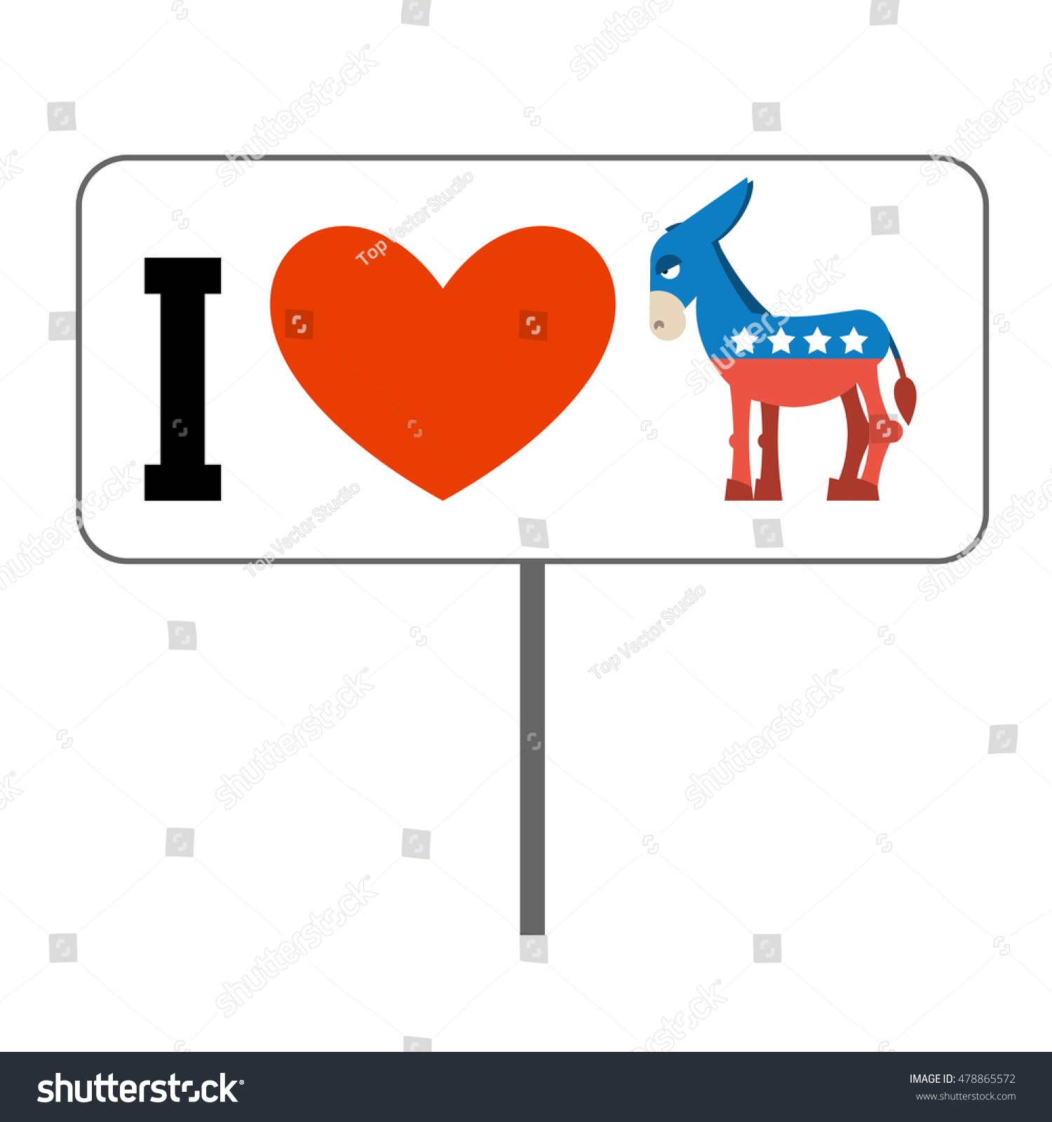 Love democrats symbol heart donkey poster stock vector 478865572 i love democrats symbol of heart and donkey poster for elections in usa buycottarizona