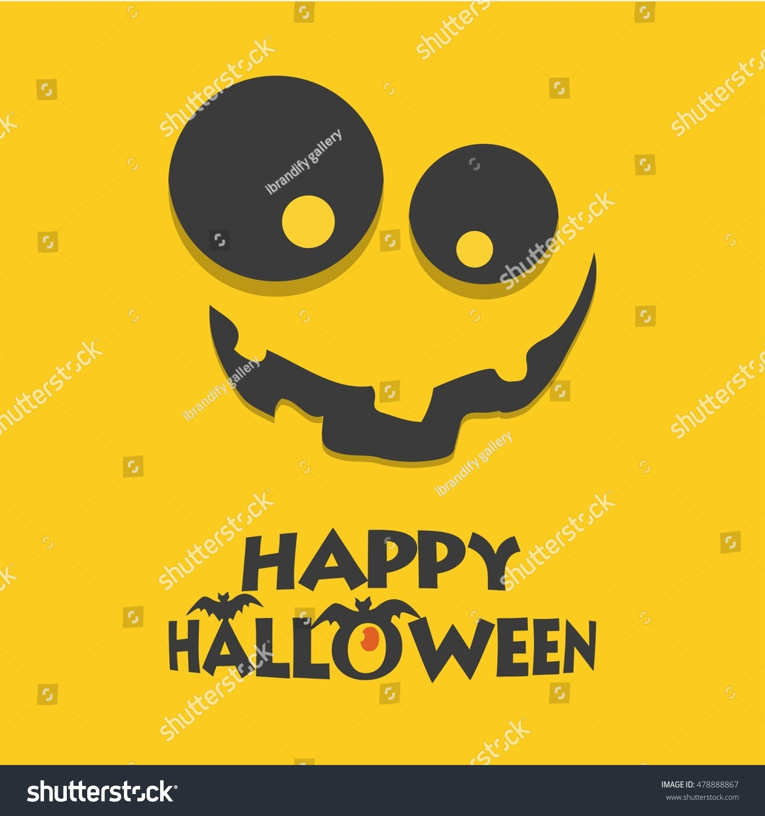 Happy Halloween Scary Face Yellow Card Stock Vector Royalty Free 478888867