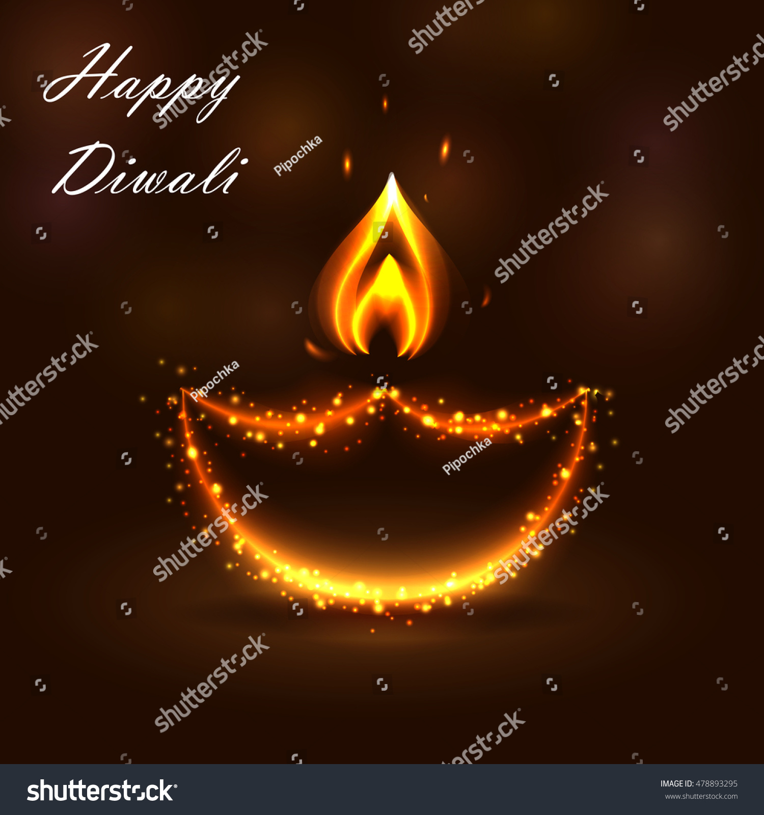 Happy Diwali Festival Background Beautiful Burning Stock Vector