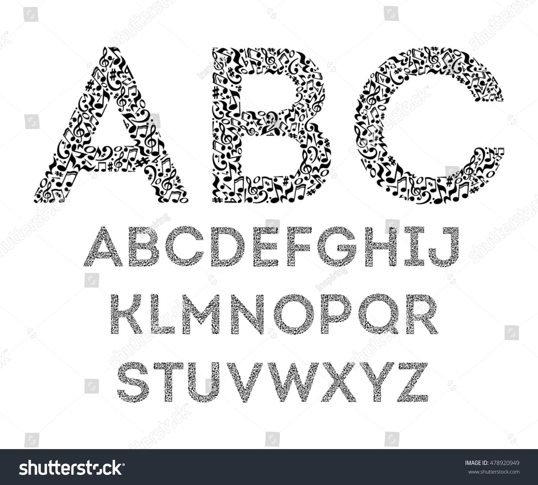 Royalty Free Stock Illustration Of Alphabet Musical Notes On White