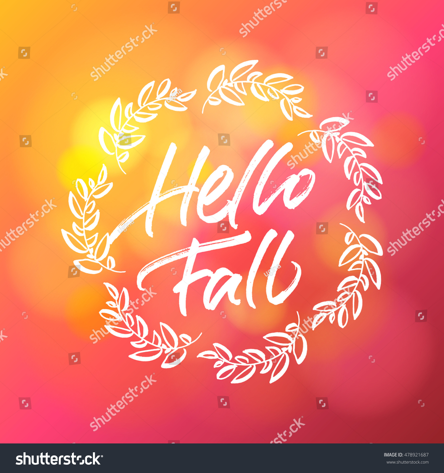 Amazing Hello Fall Greeting Card Handwritten Lettering Stock Vector 478921687    Shutterstock