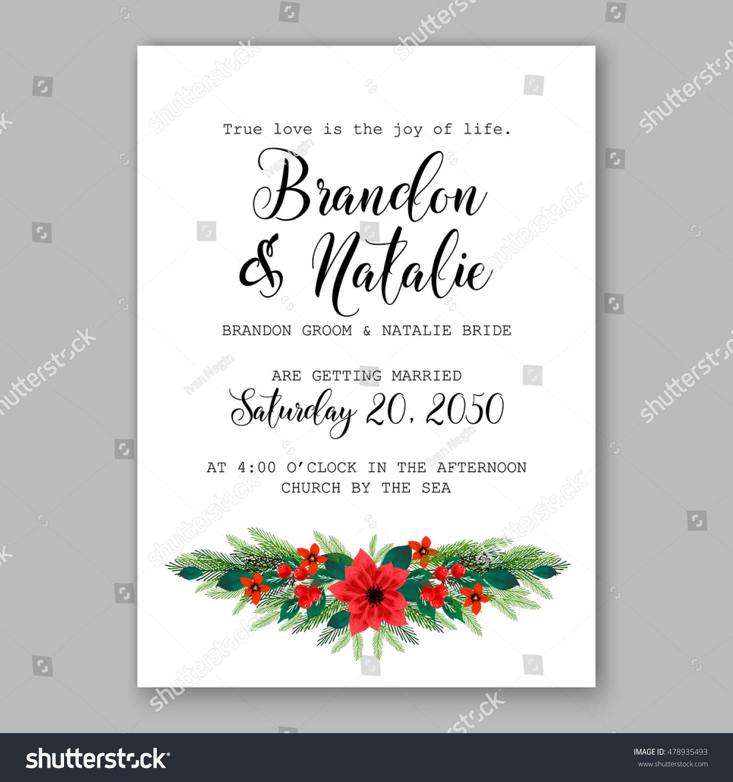 Poinsettia wedding invitation sample card beautiful stock vector poinsettia wedding invitation sample card beautiful winter floral ornament christmas party wreath poinsettia pine branch stopboris Images