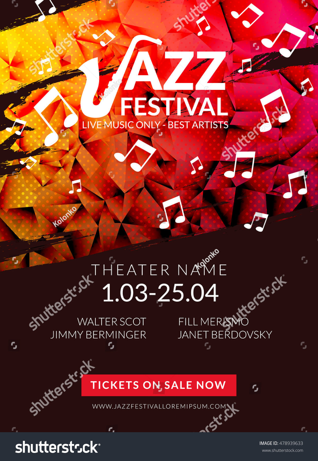 vector musical flyer jazz festival music stock vector