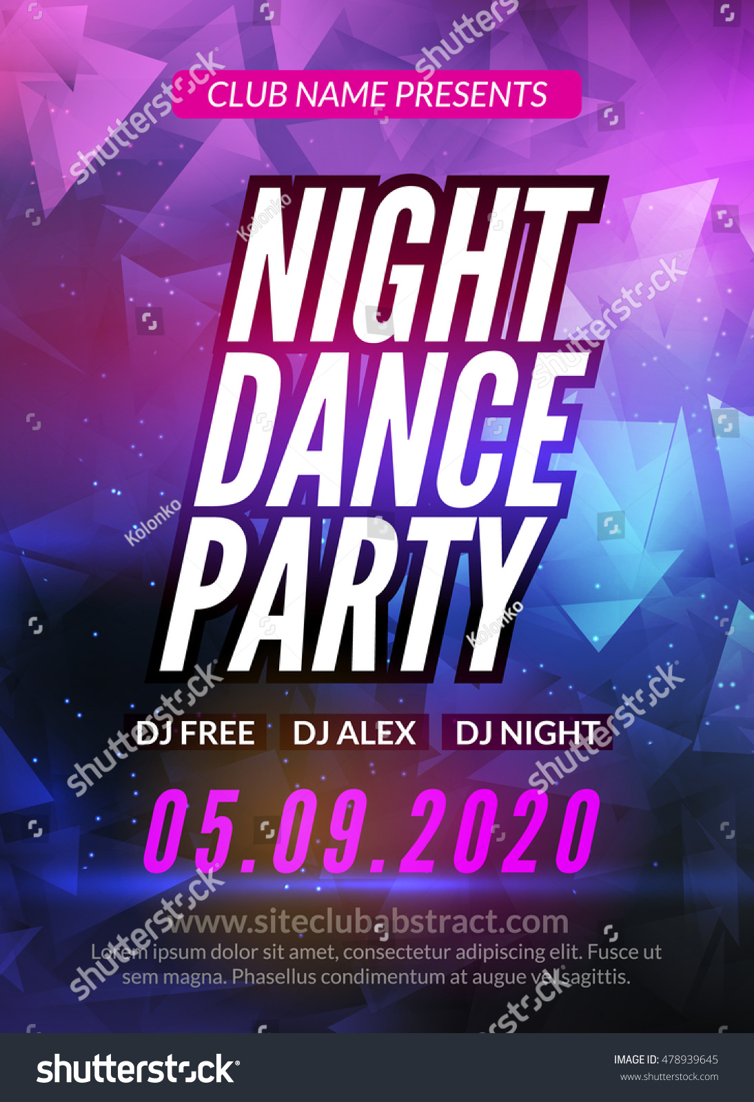 dance party poster template night dance のベクター画像素材