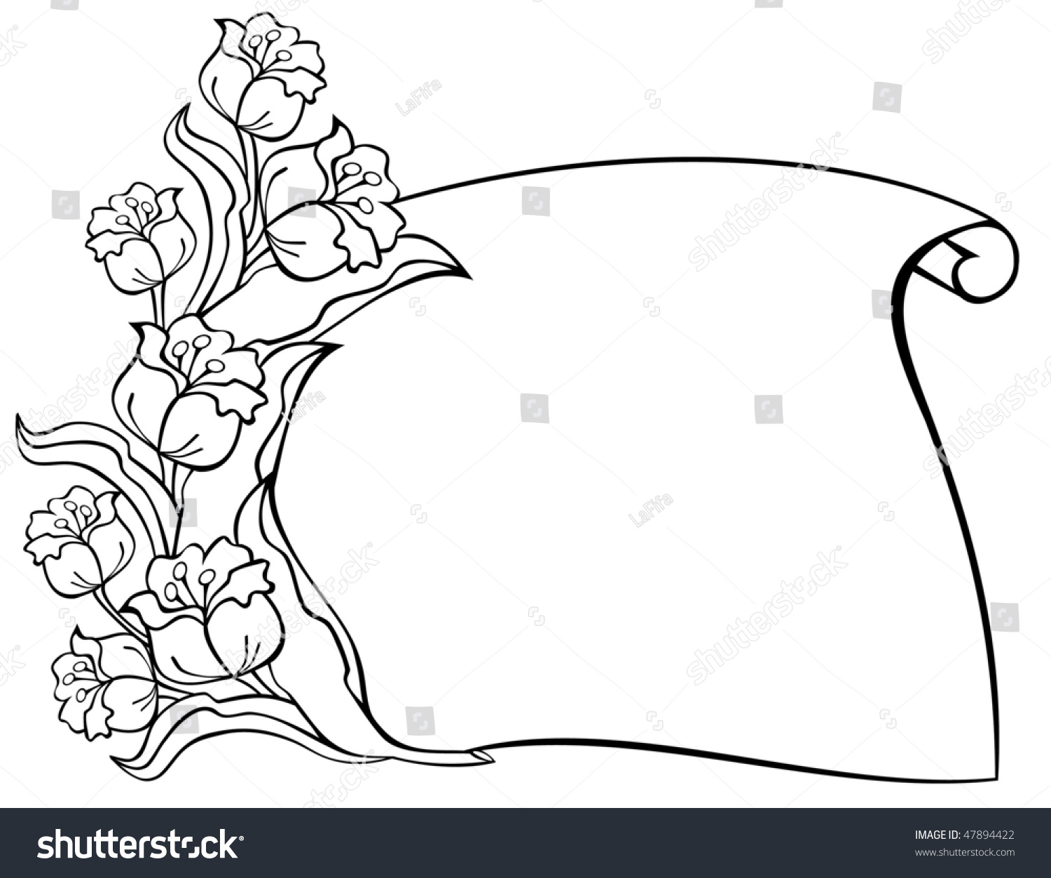 Outline Flowers Paper Scroll Copy Space Stock Vector 47894422