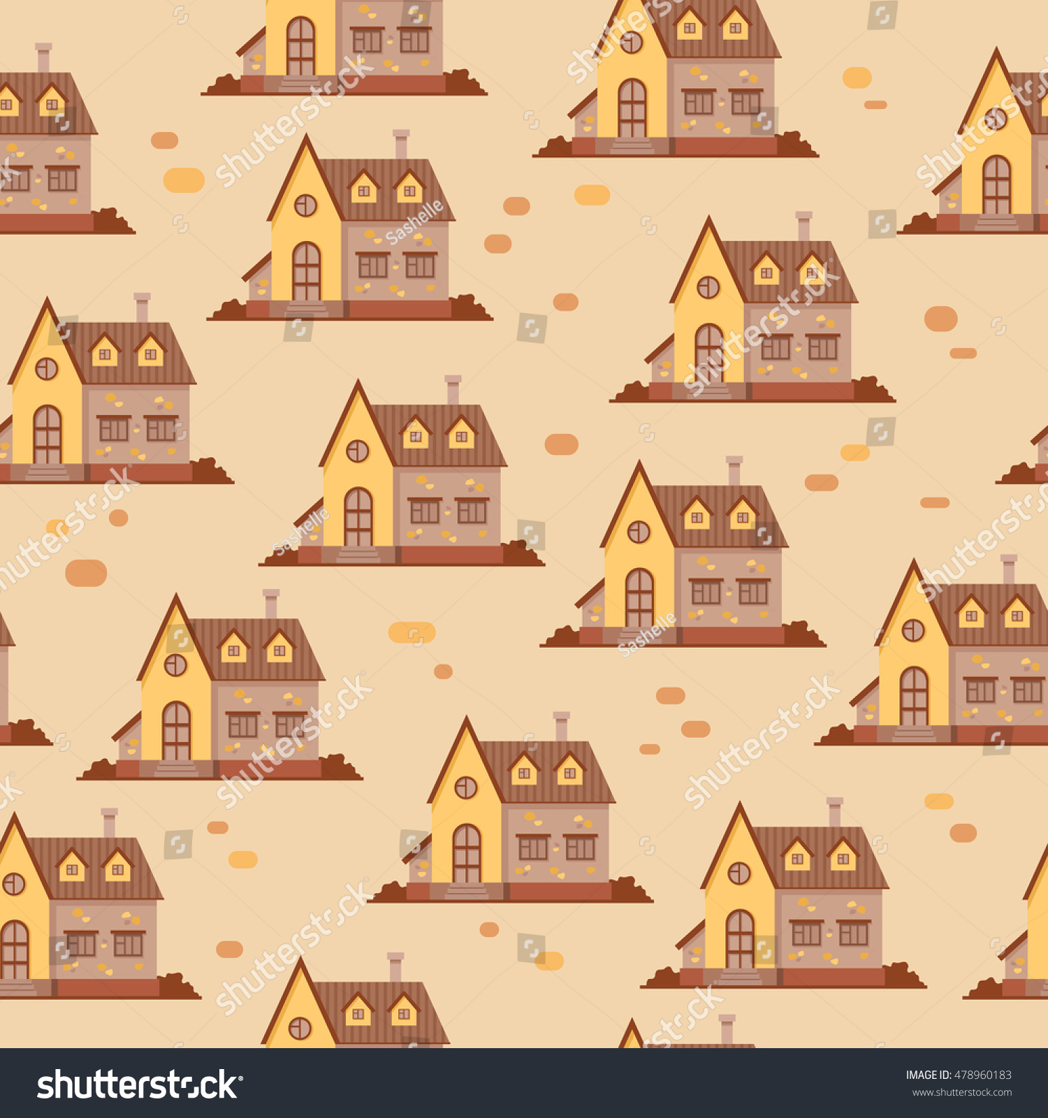 Seamless Vector Pattern Brown Yellow Houses Stock Vector