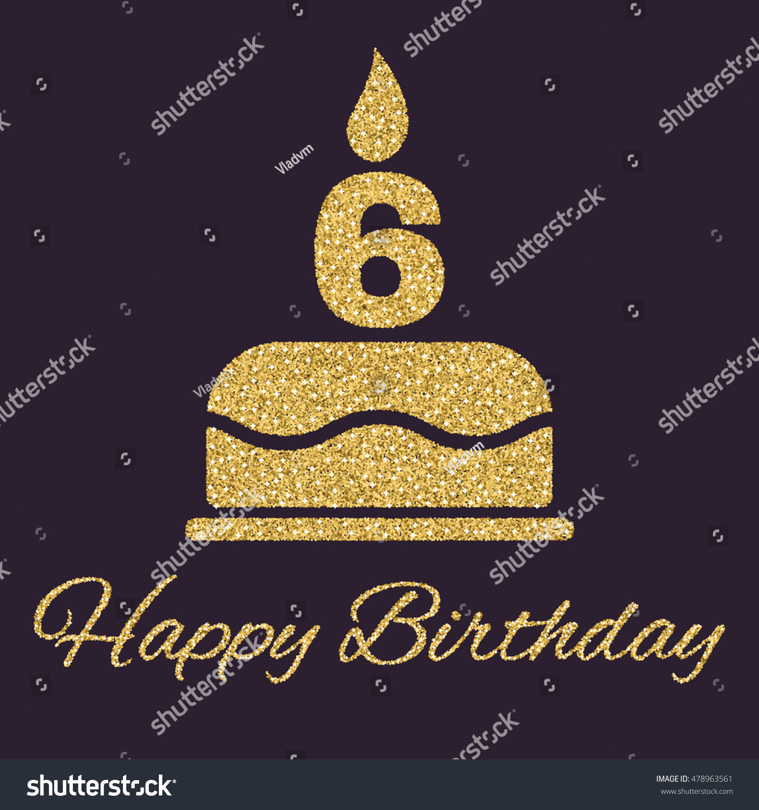 Birthday Cake Candles Form Number 6 Stock Illustration 478963561