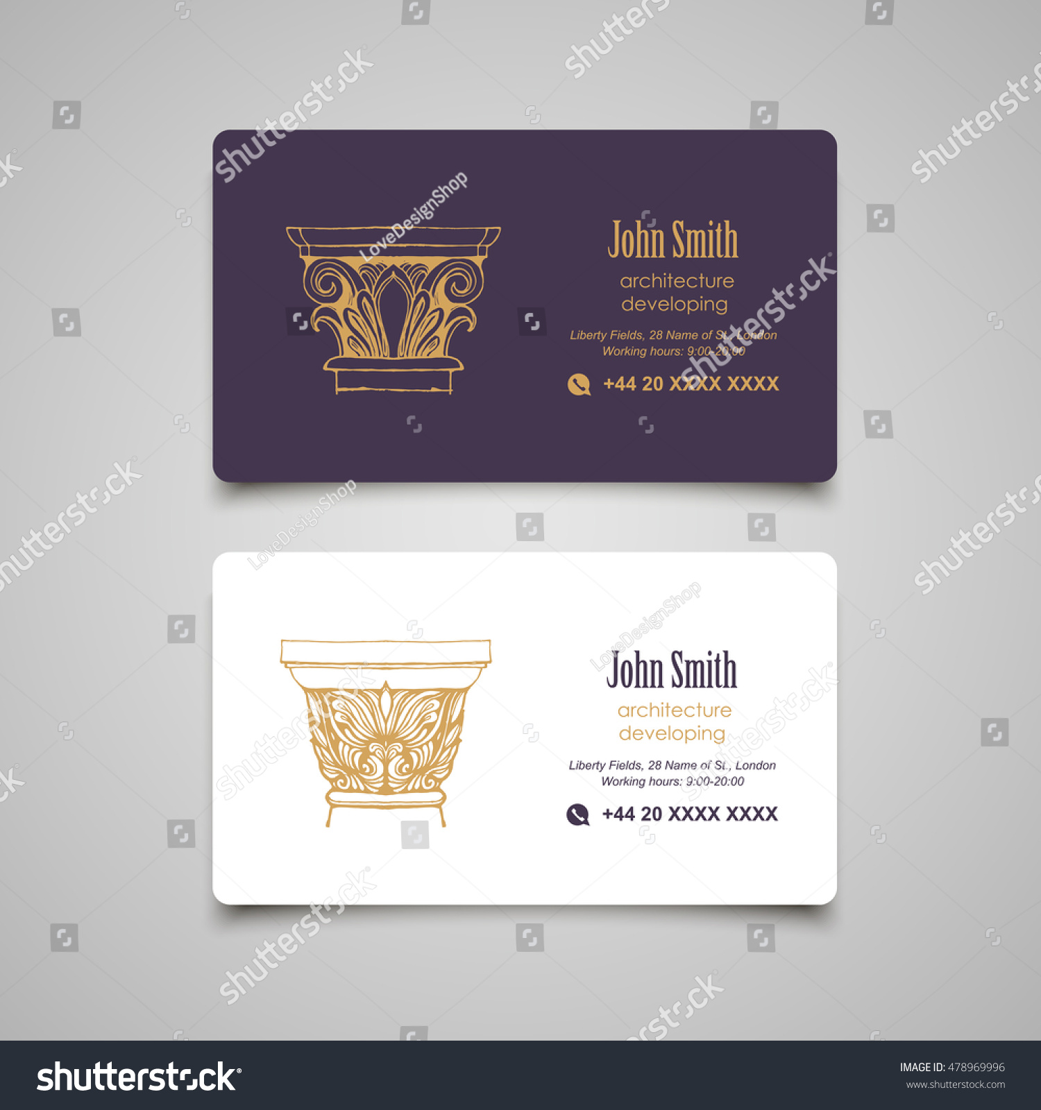 Architectural Business Card Templates Set Vector Stock Vector ...
