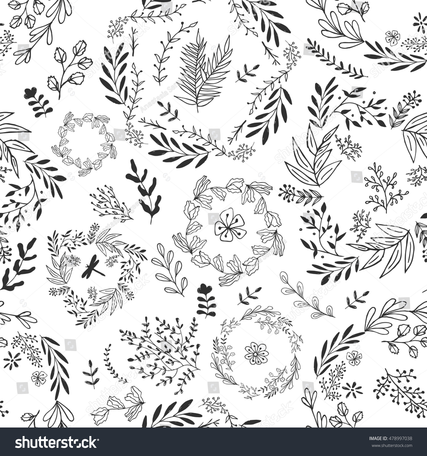 Hand Drawn Vector Flower Seamless Pattern Stock Vector (Royalty Free